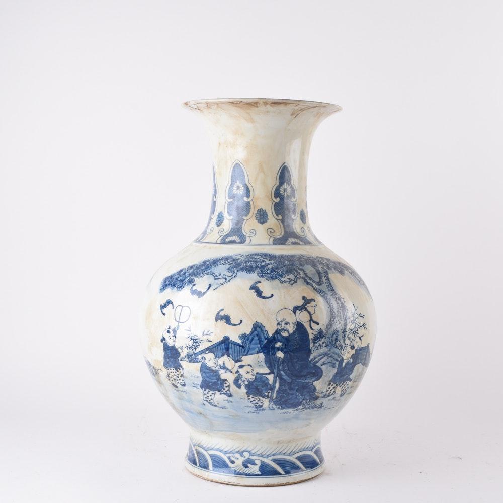 Ceramic Chinese Blue and White Vase