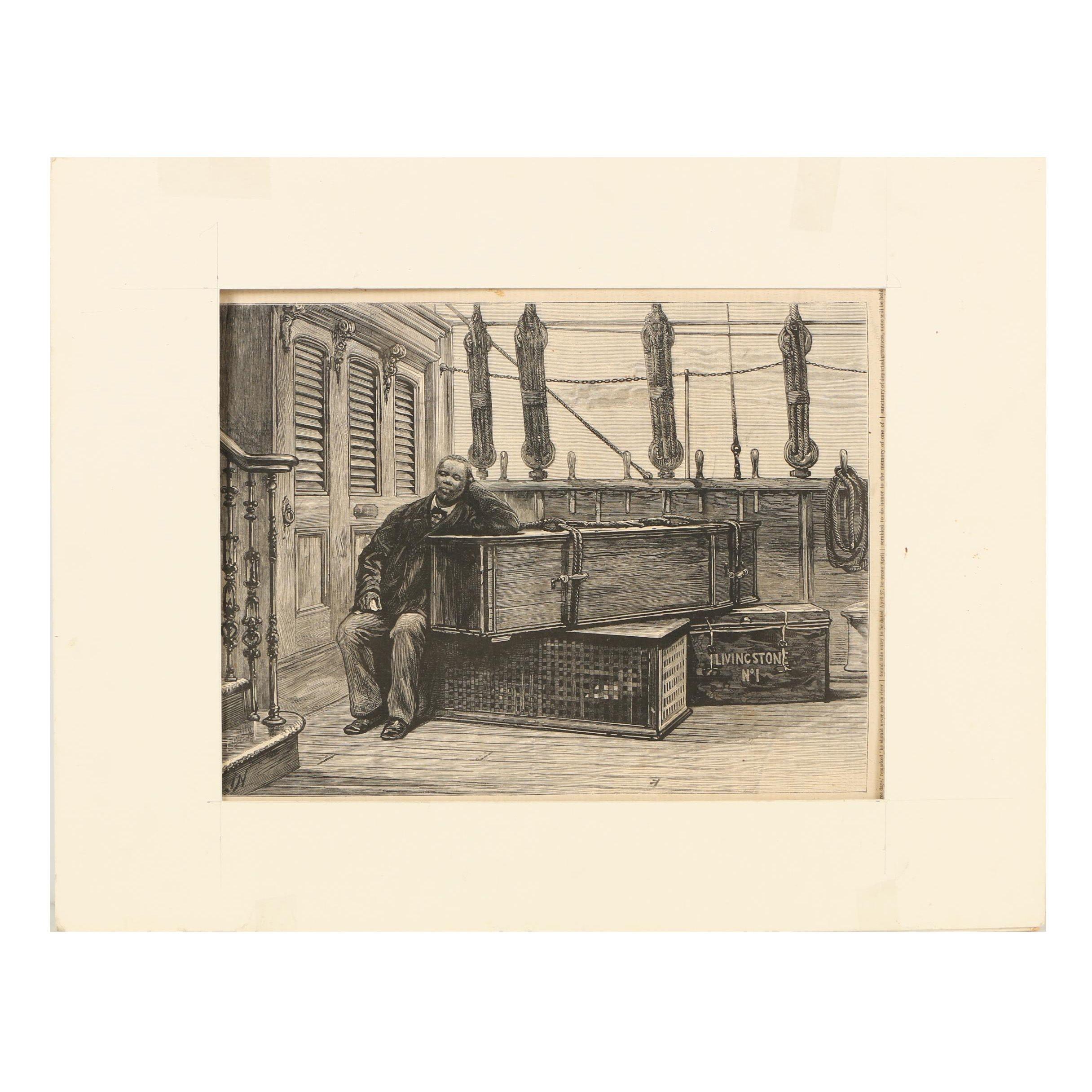 "Joseph Nash Wood Engraving ""Jacob Wainwright and the Body of Dr. Livingstone"""