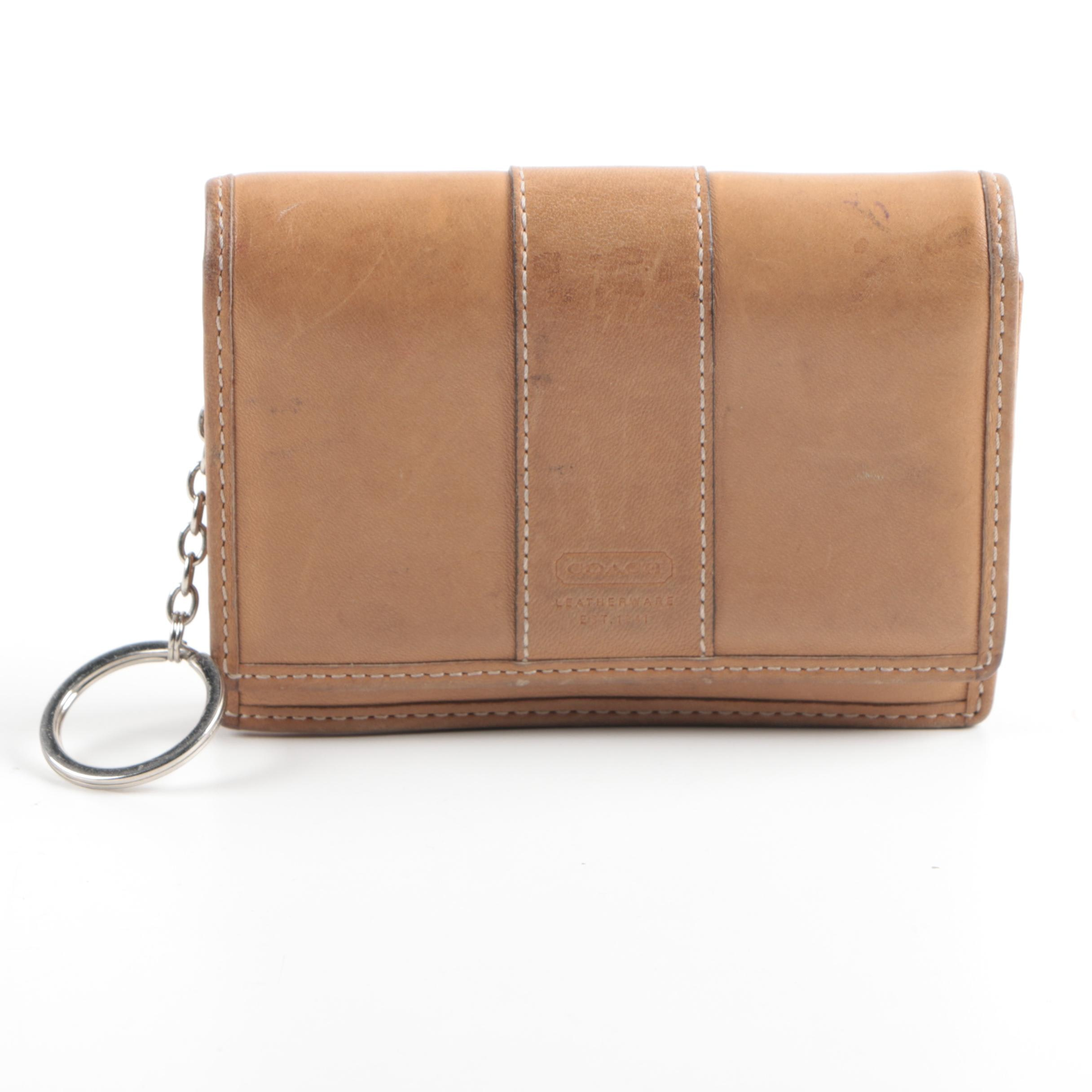 Coach Tan Leather Wallet with Key Ring Accent