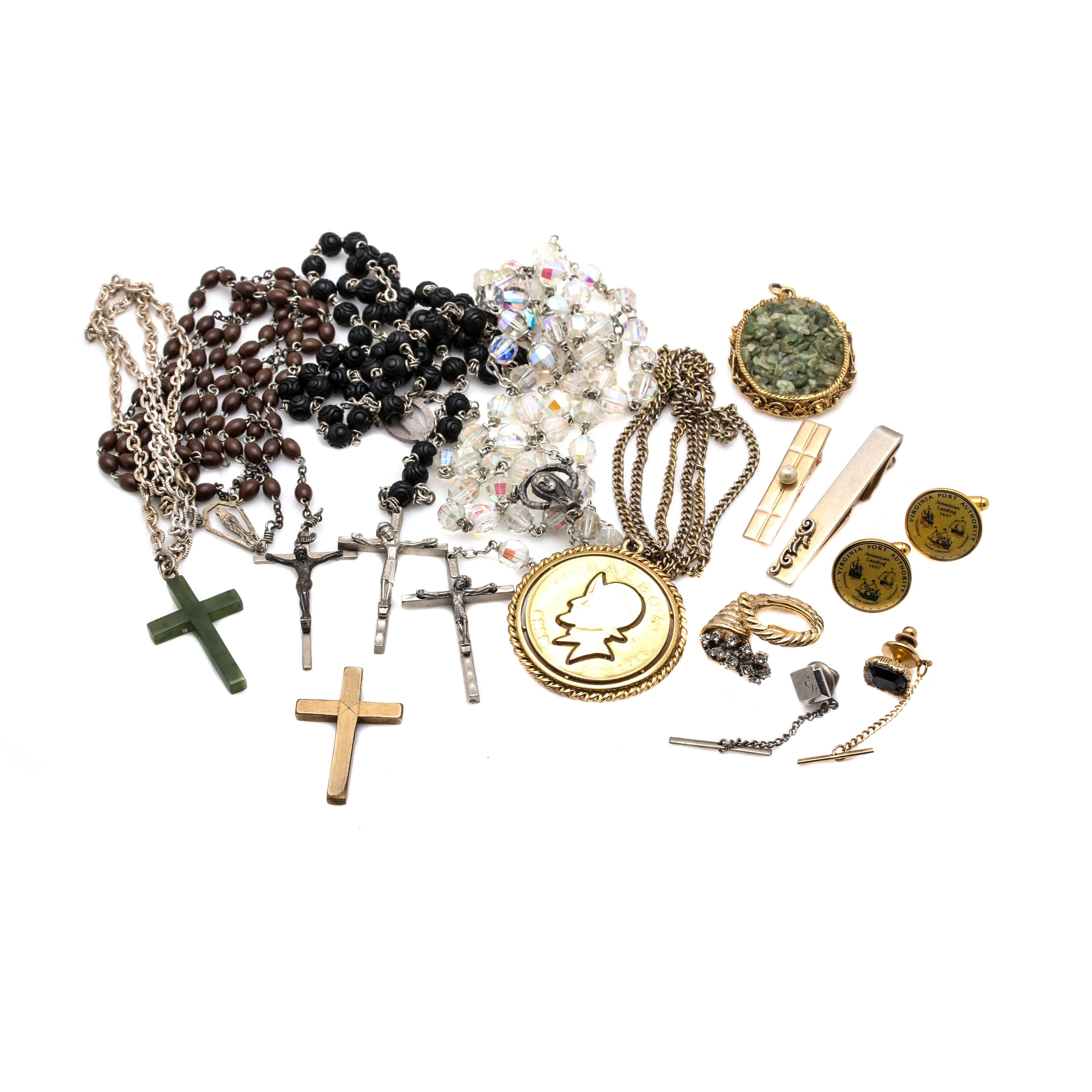 Collection of Jewelry Including Rosaries