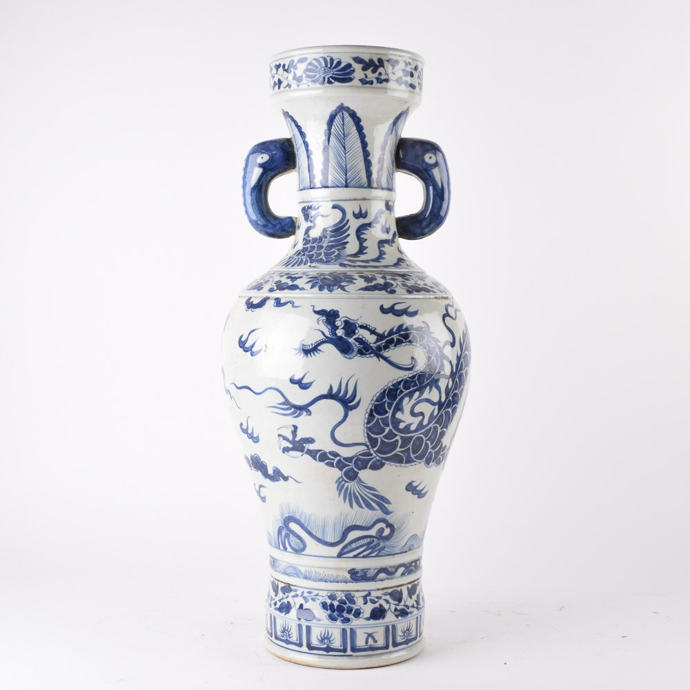 Chinese Blue and White Earthenware Vases