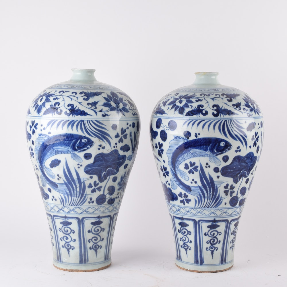 Chinese Blue and White Earthenware Plum Vases