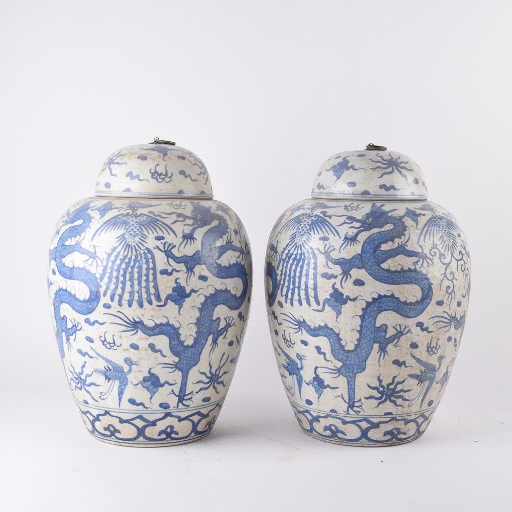 Hand-painted Chinese Stoneware Ginger Jars