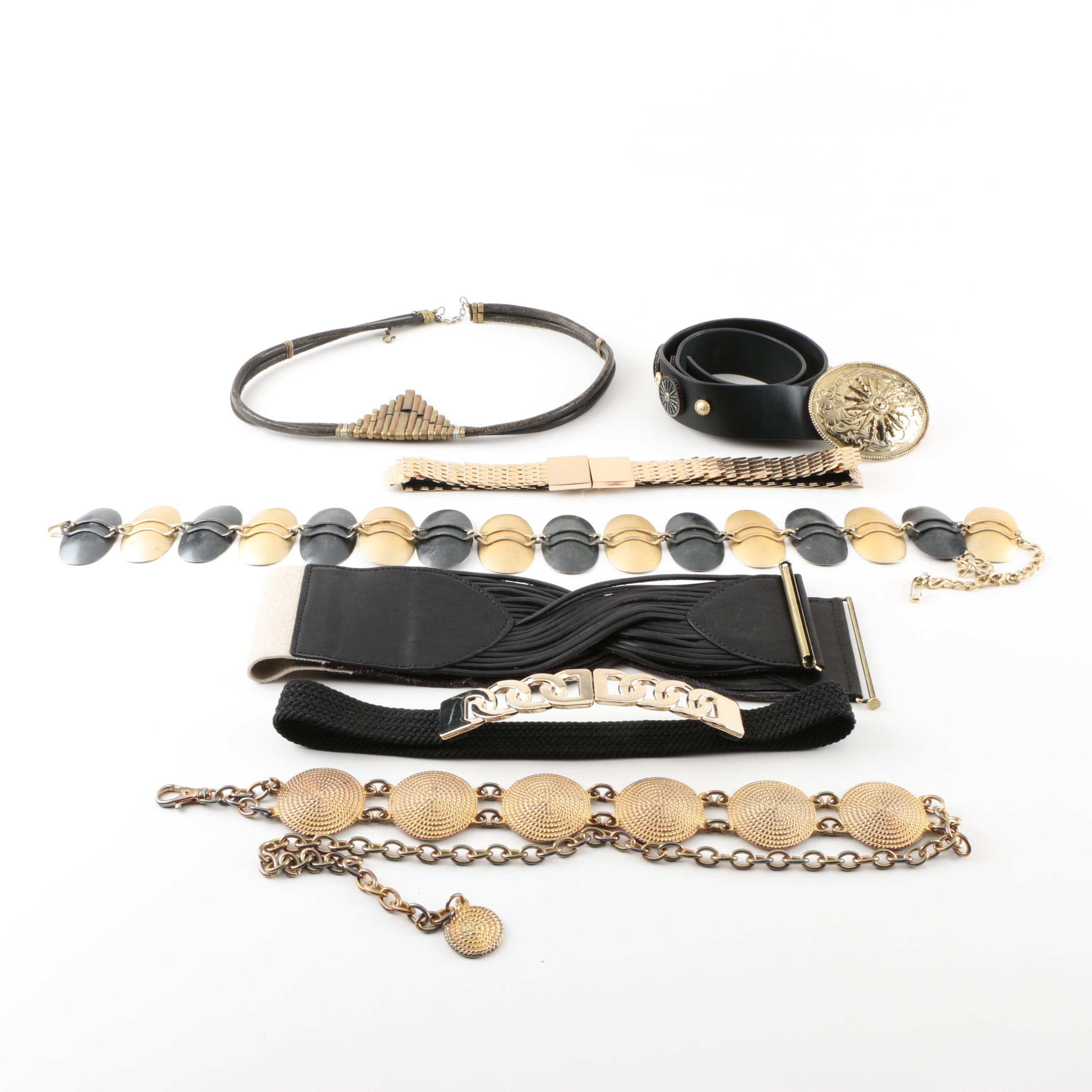Women's Black and Gold Tone Belts