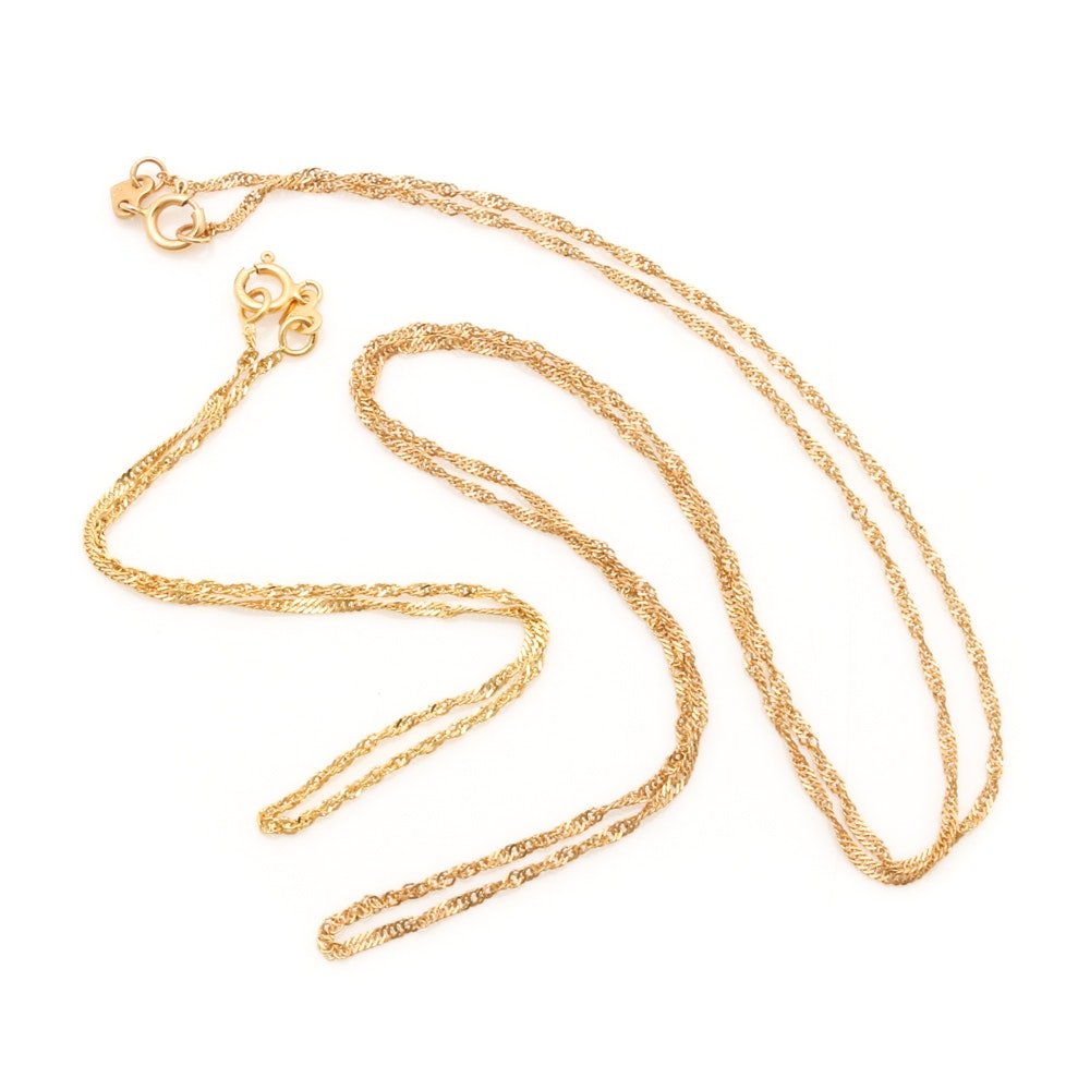 14K Yellow Gold Twisted Rope Chain Necklace and Bracelet
