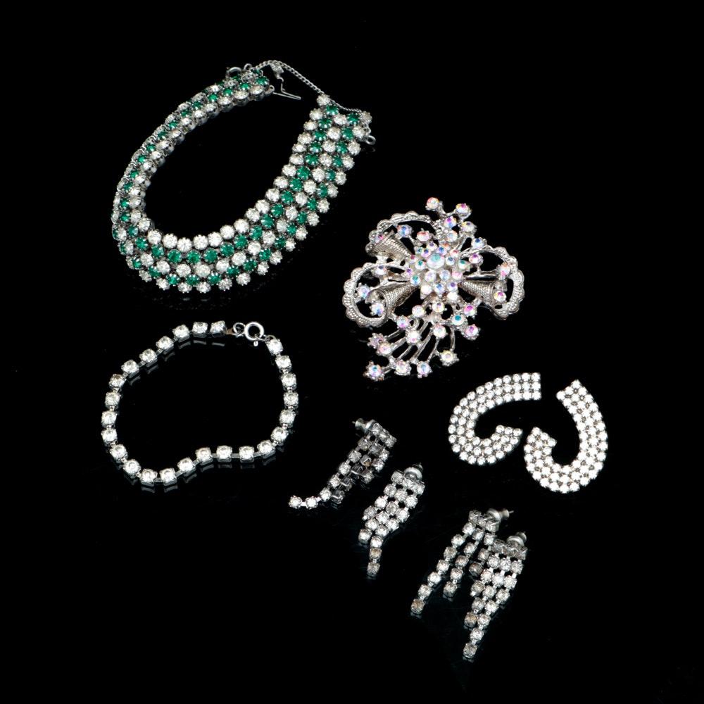Costume Jewelry Featuring Rhinestones