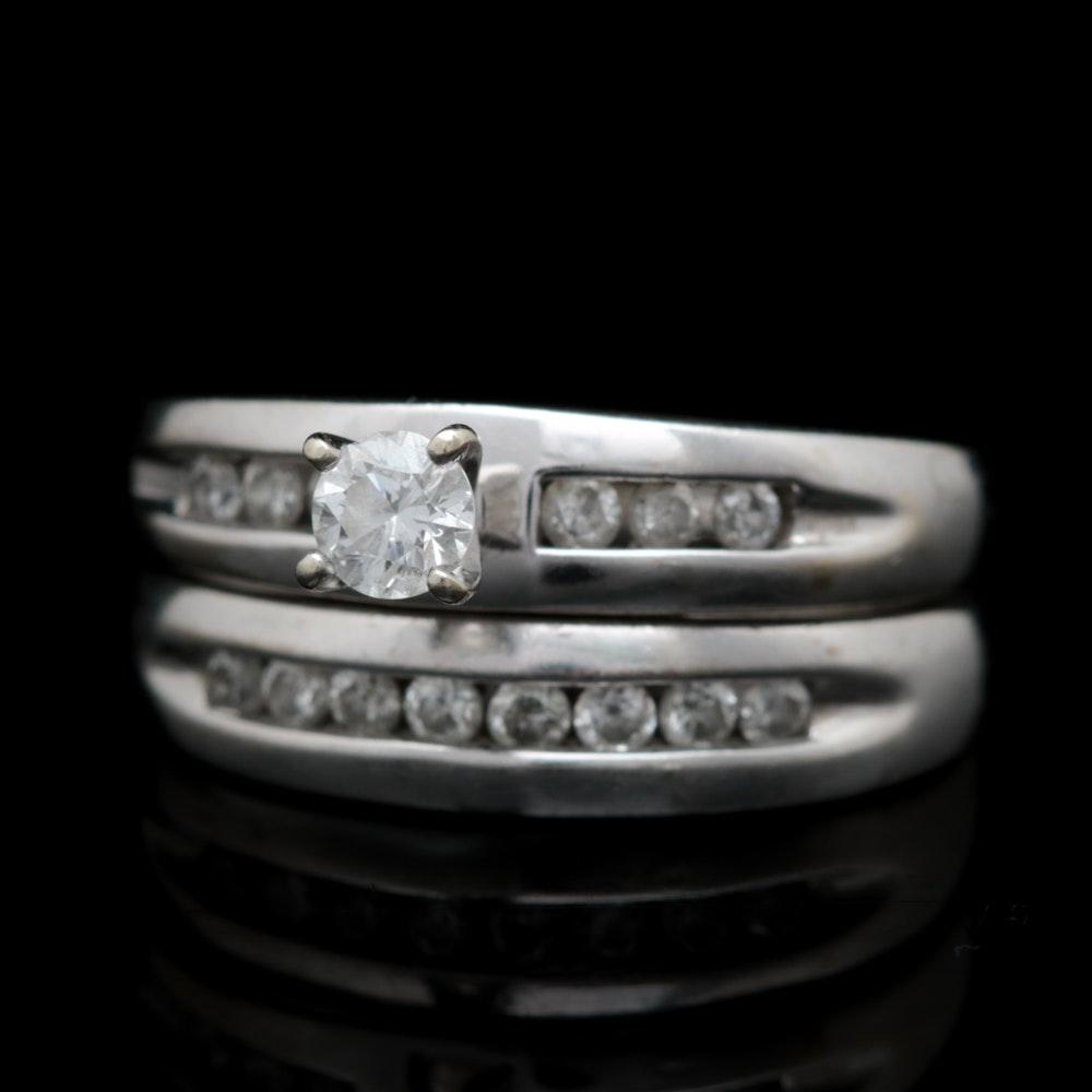 10K White Gold Diamond Bridal Set