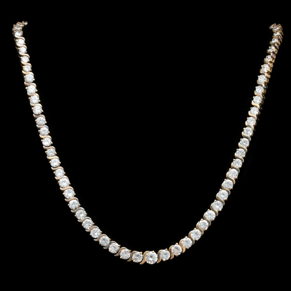 Gold Wash on Sterling Silver Cubic Zirconia Eternity Necklace