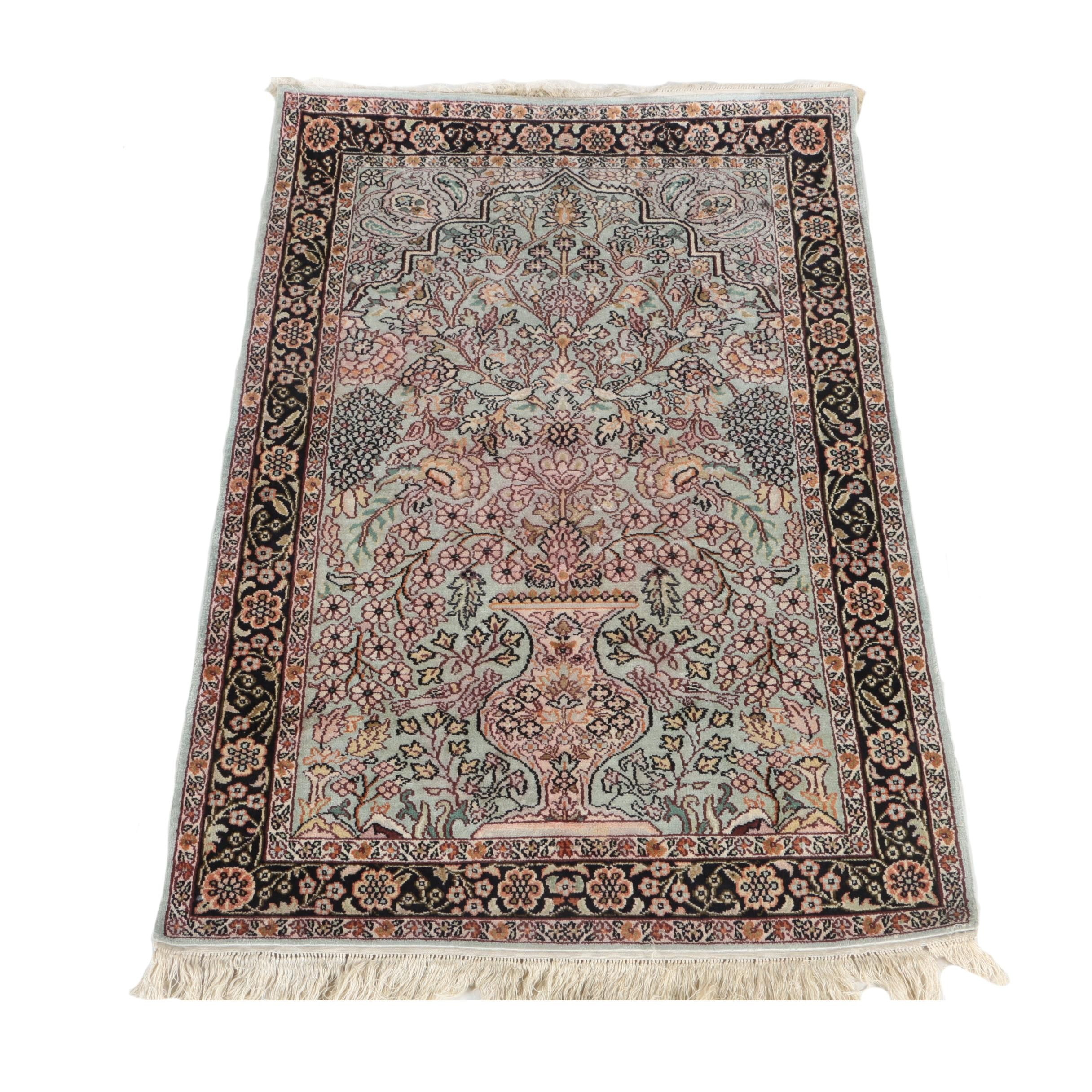 Hand-Knotted Indo-Persian Art Silk Kerman-Style Prayer Rug