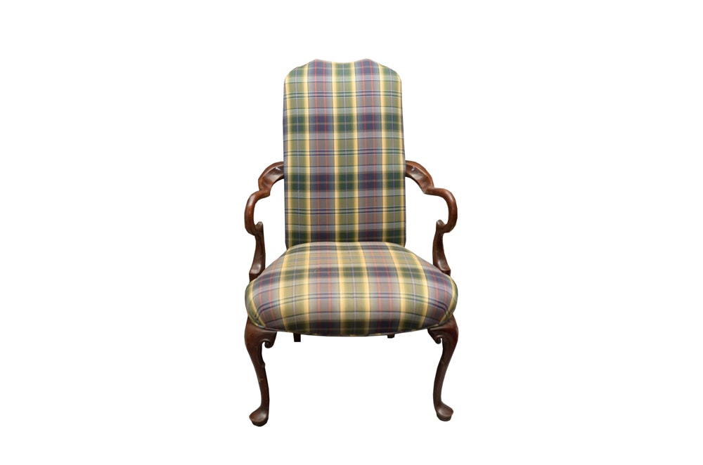 Vintage Queen Anne Style Gooseneck Armchair With Plaid Upholstery ...