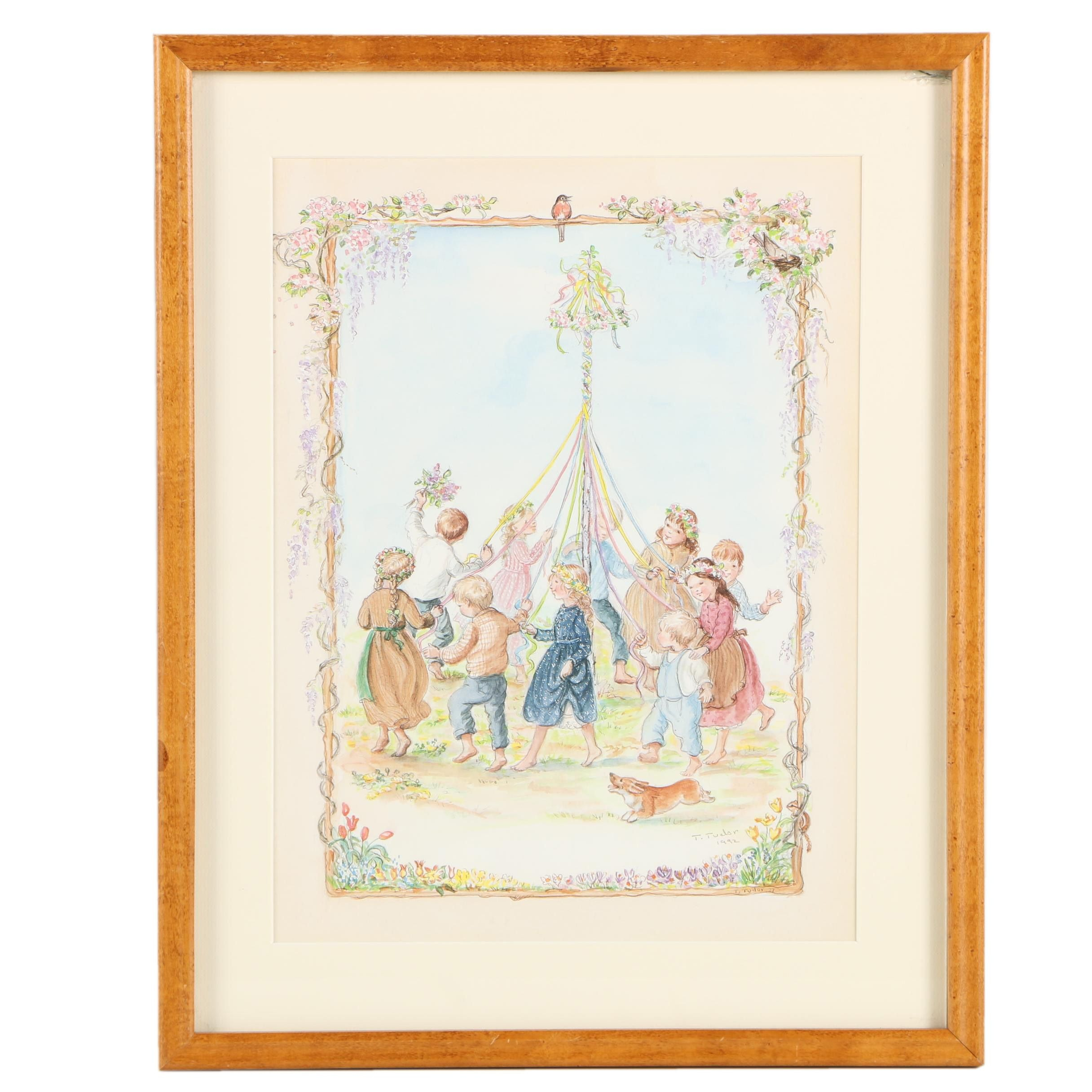 "Tasha Tudor Offset Lithograph on Paper ""Maypole Dance"""