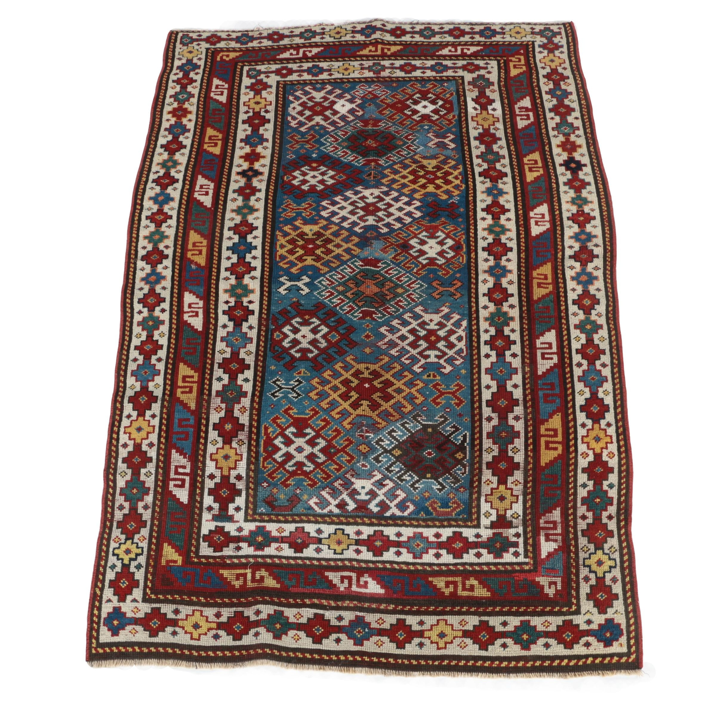 Hand-Knotted Kazak Area Rug