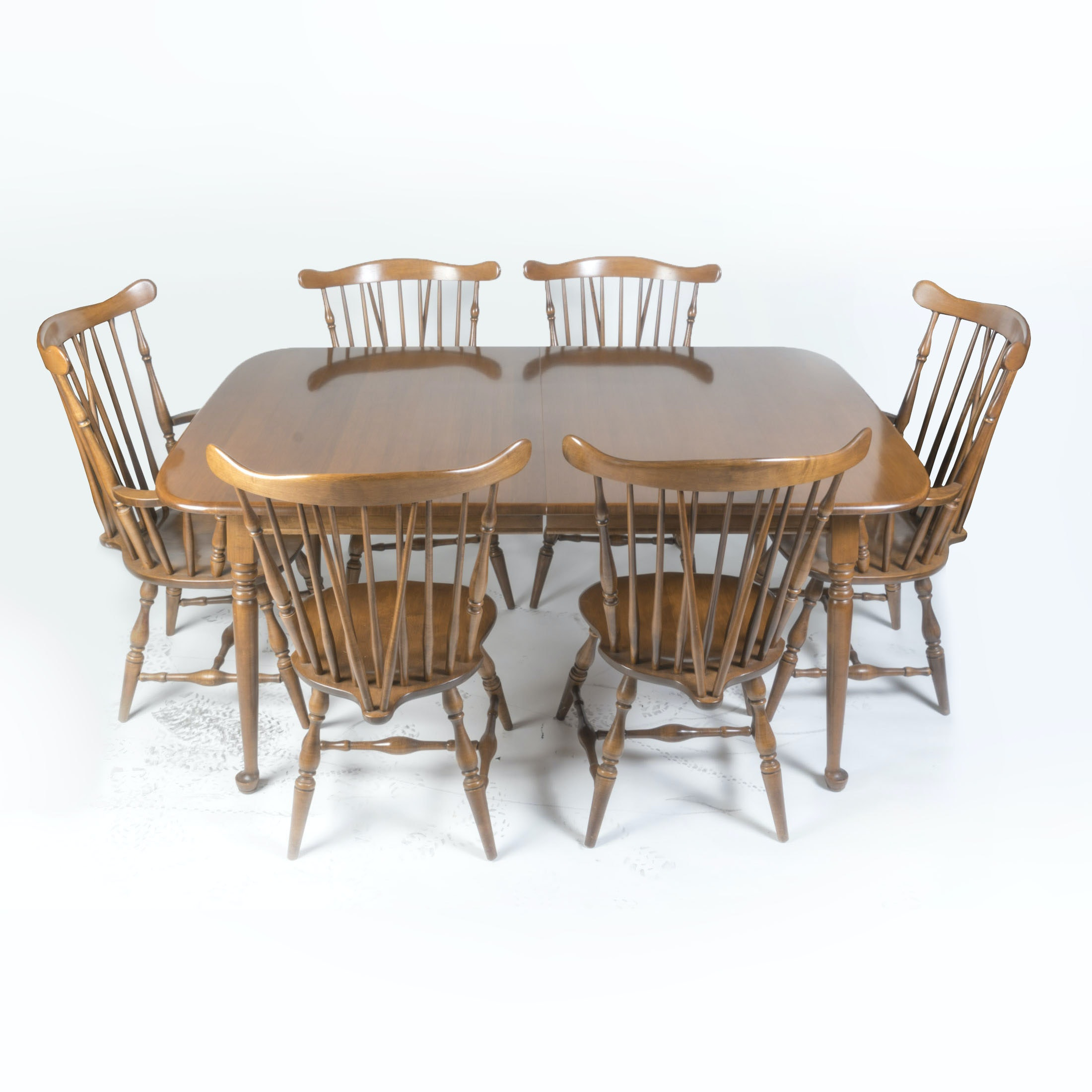 Maple Kitchen Table With Chair And Bench Ebth: Early American Style Maple Table And Six Chairs By Heywood