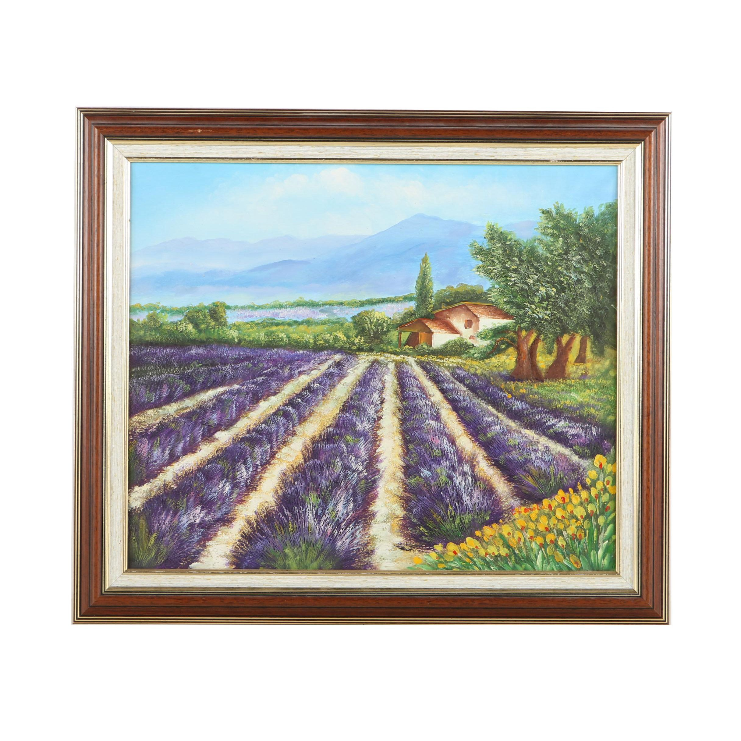 Oil Painting on Canvas Lavender Field