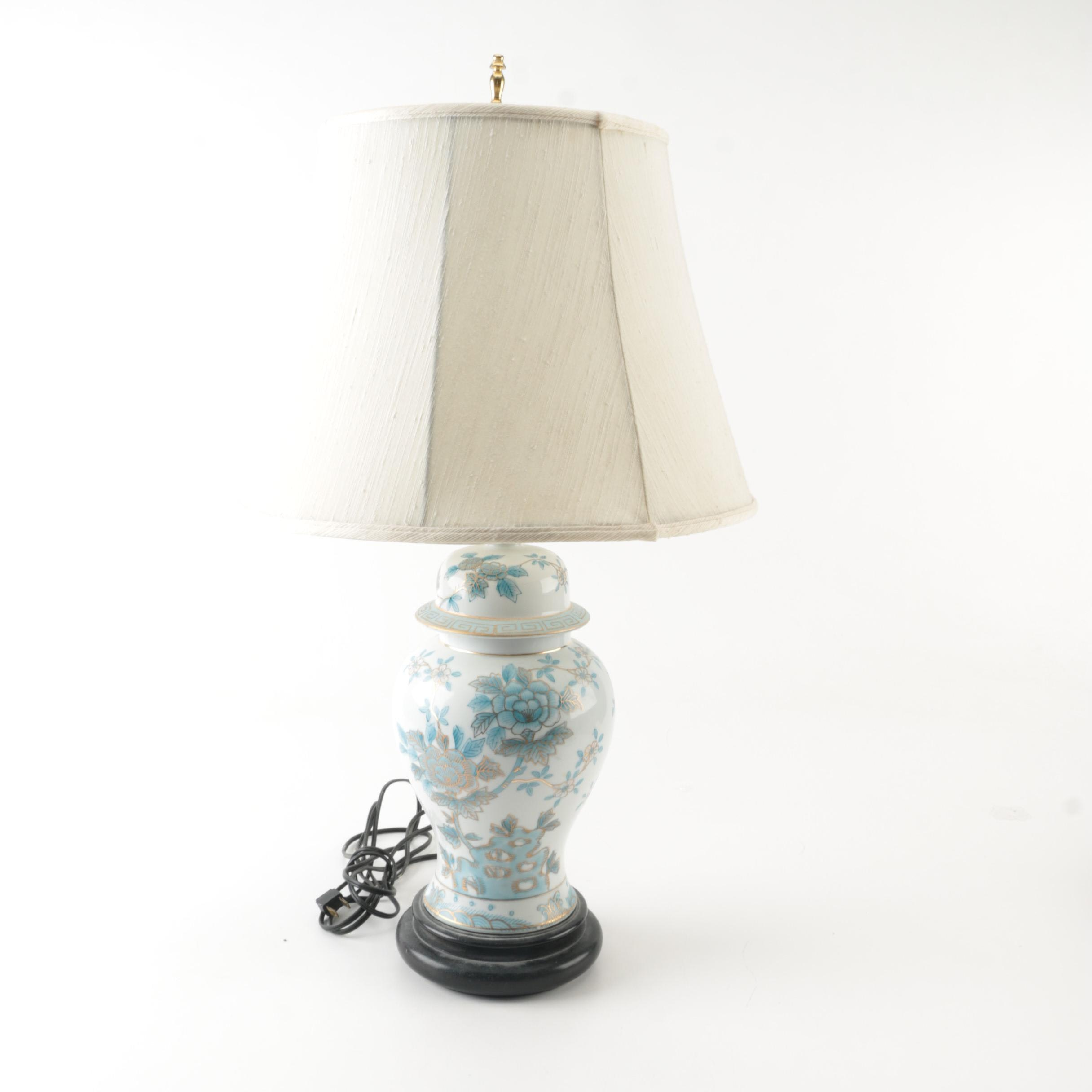 Vintage Asian Inspired Ceramic Table Lamp with Shade