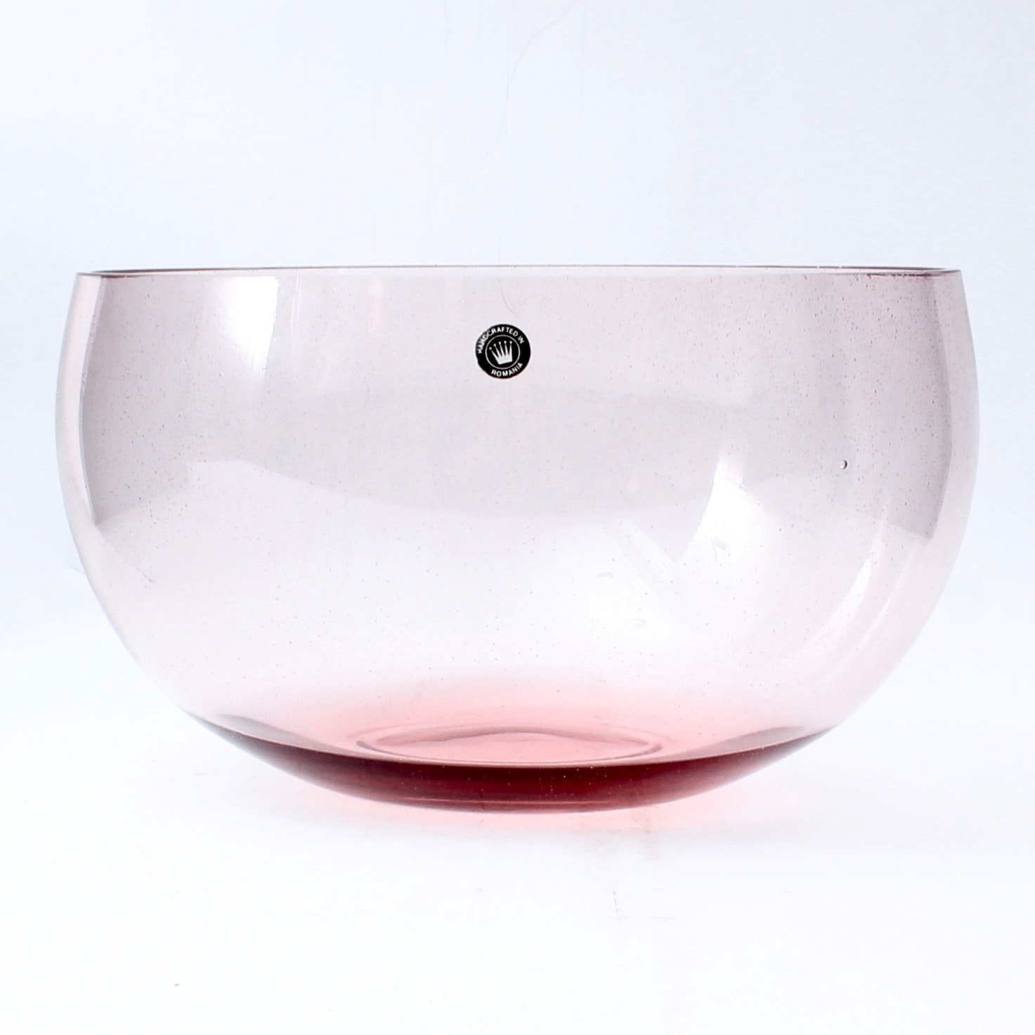 Romanian Crystal Bowl in Pale Pink