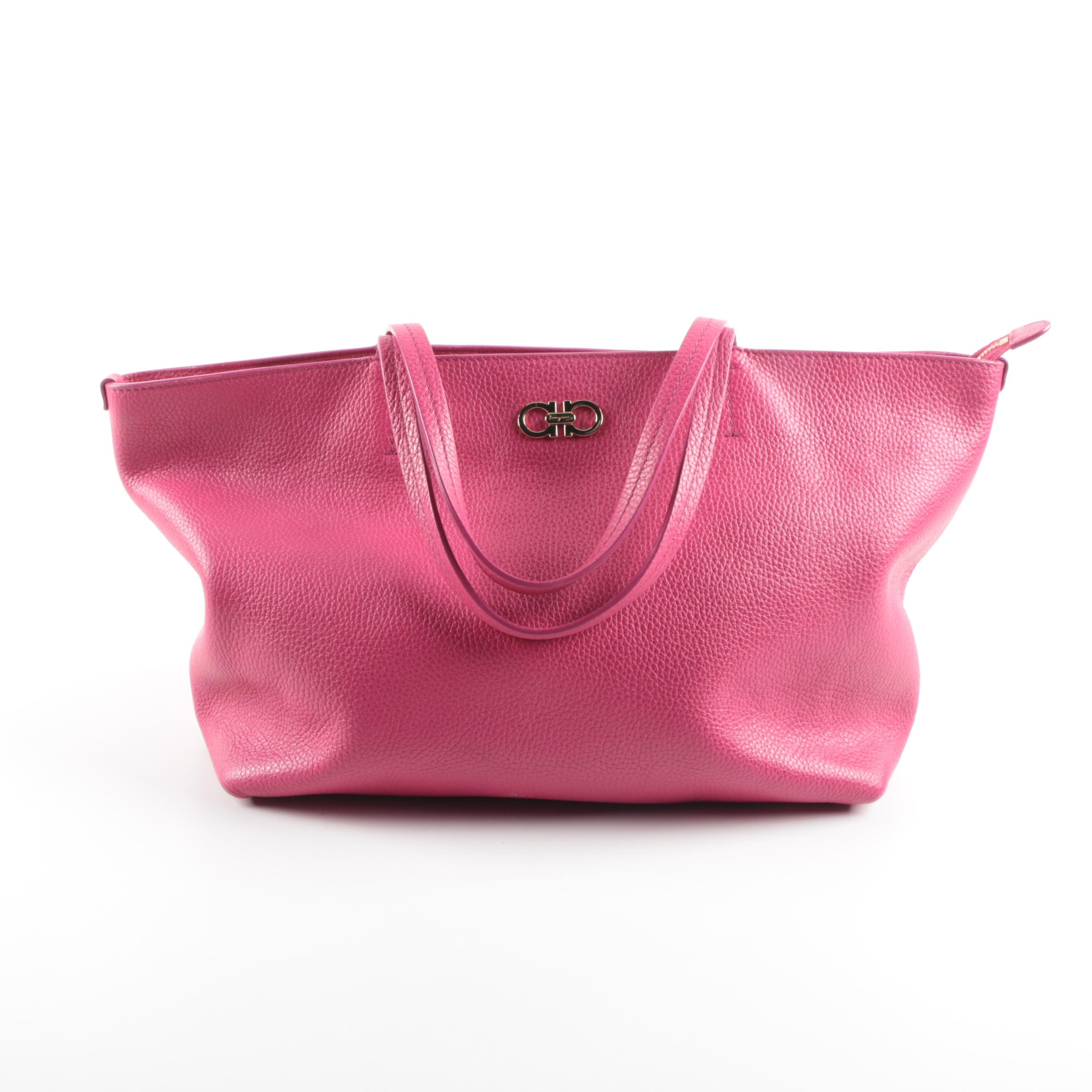 Salvatore Ferragamo Bice East-West Tote Bag in Hot Pink Pebbled Leather