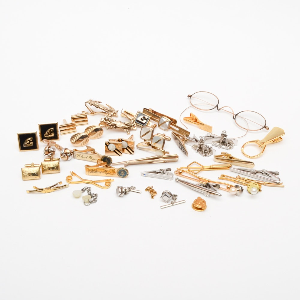 Costume Cufflinks, Tie Tacks, and Tie Clips Featuring a pair of Glasses