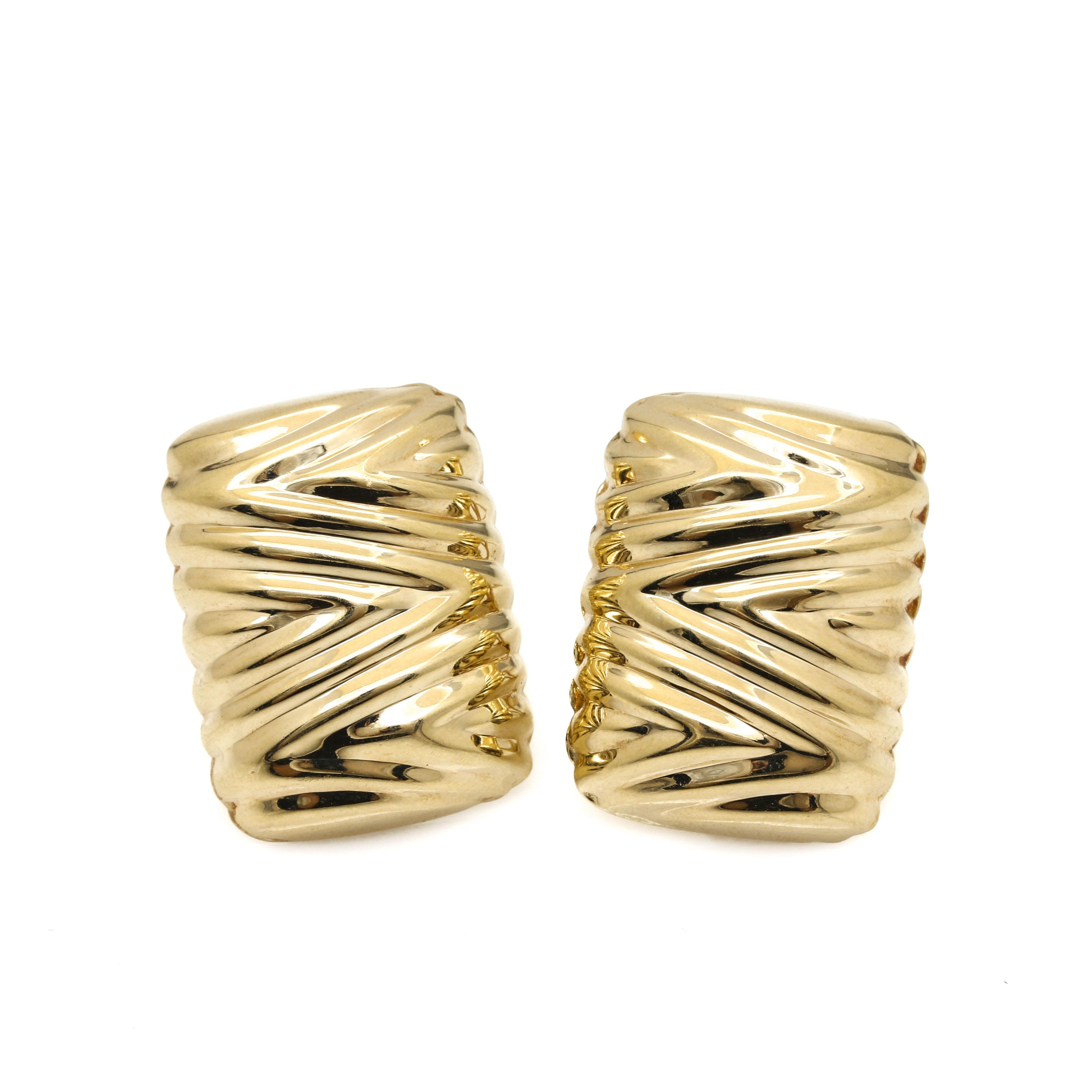 14K Yellow Gold Omega Back Earrings