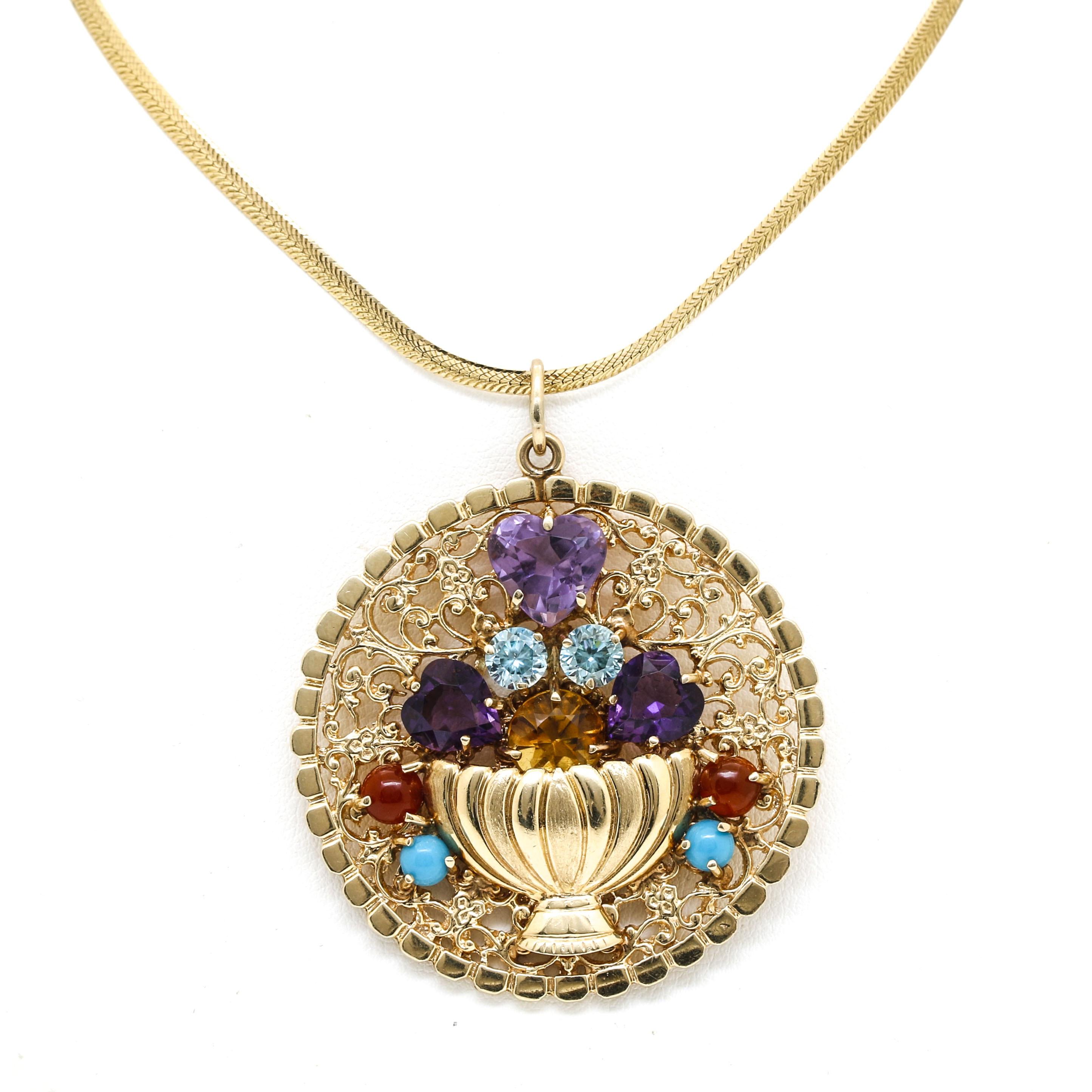 14K Yellow Gold Gemstone Pendant Necklace