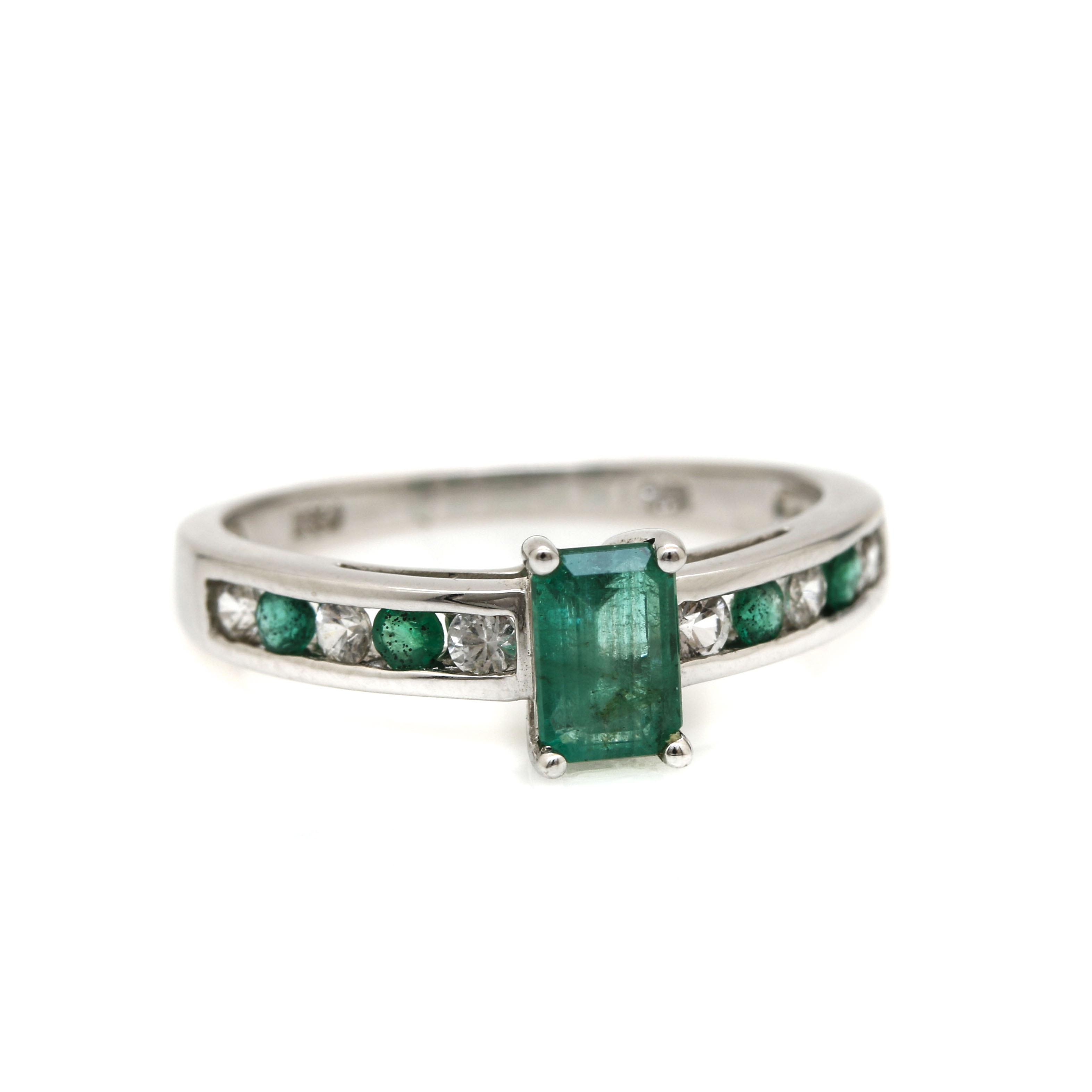 10K White Gold Emerald and White Sapphire Ring