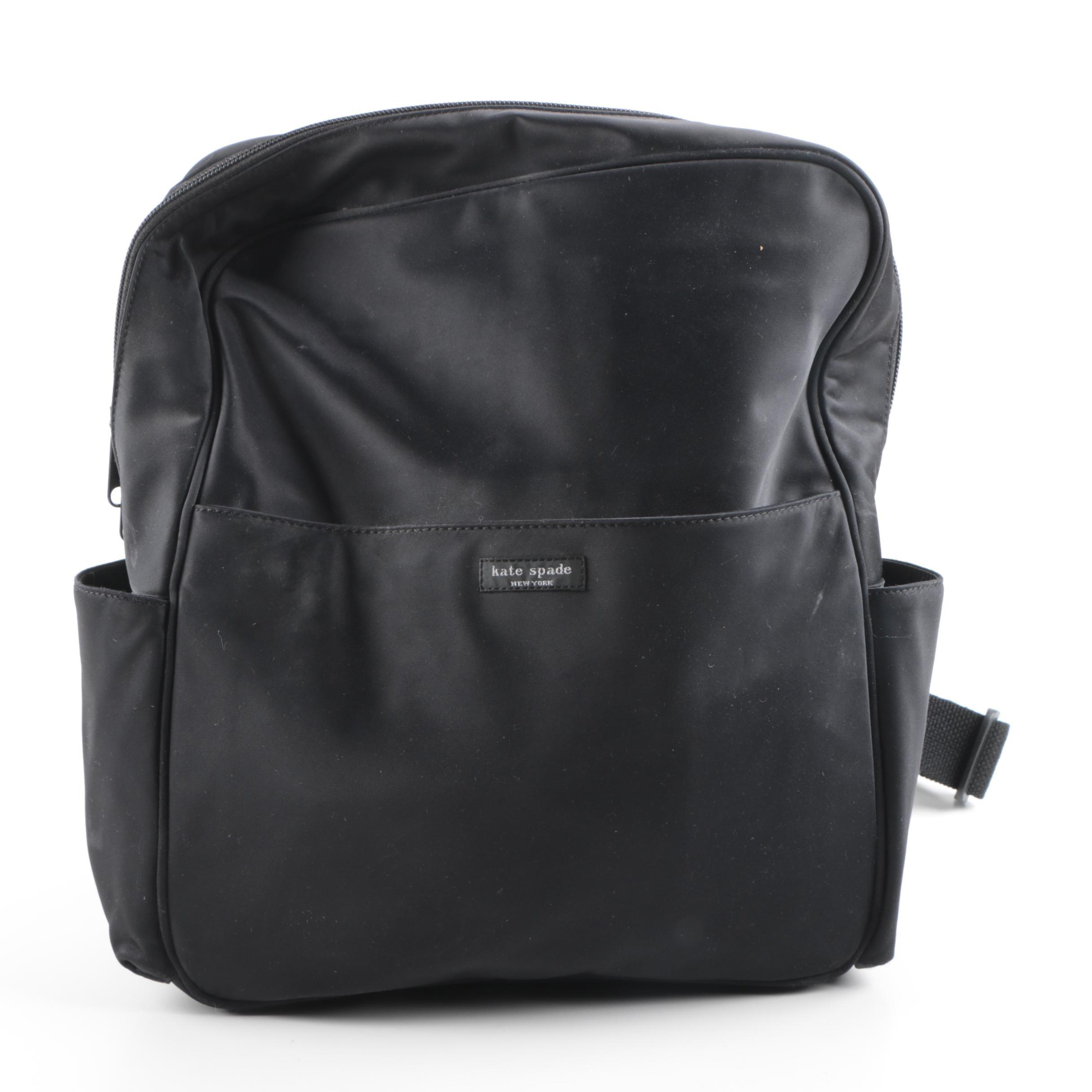 Kate Spade Black Woven Nylon Backpack Bag