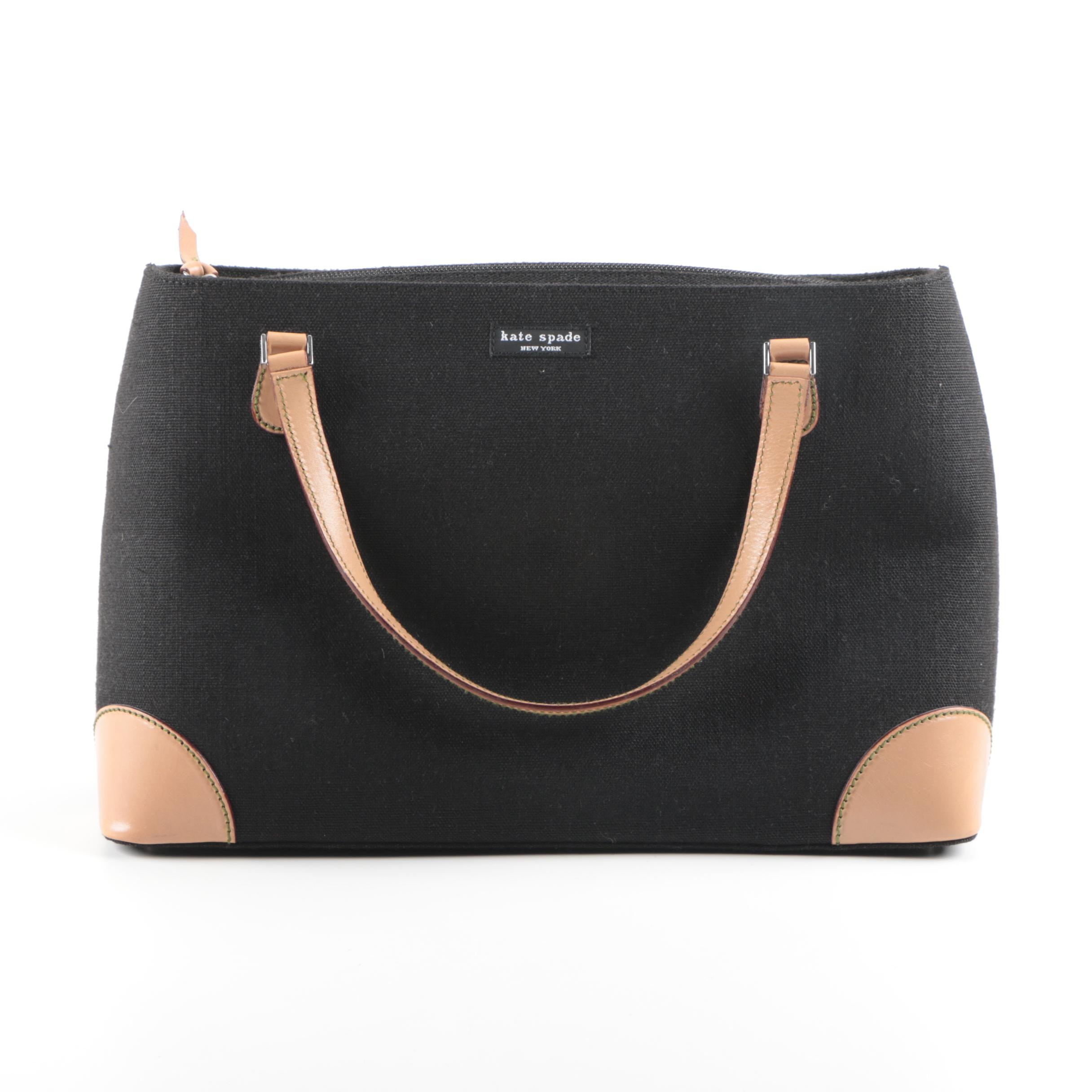 Kate Spade Black Canvas and Tan Leather Handbag