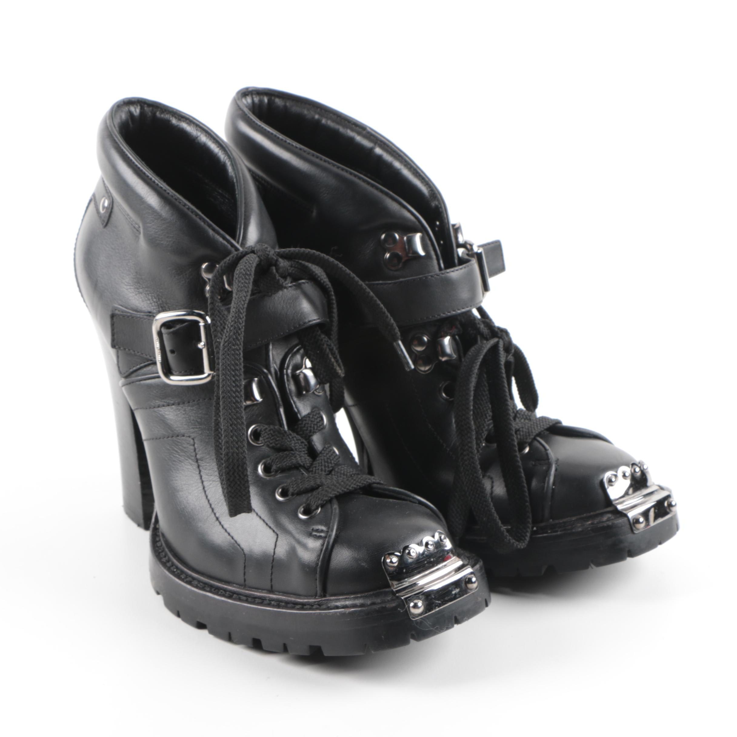 Women's MIU MIU Black Leather Ankle Boots