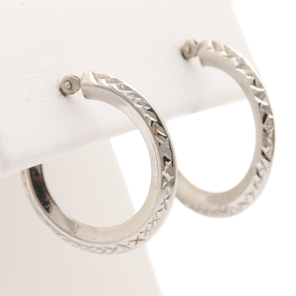 14K White Gold Hoop Earrings