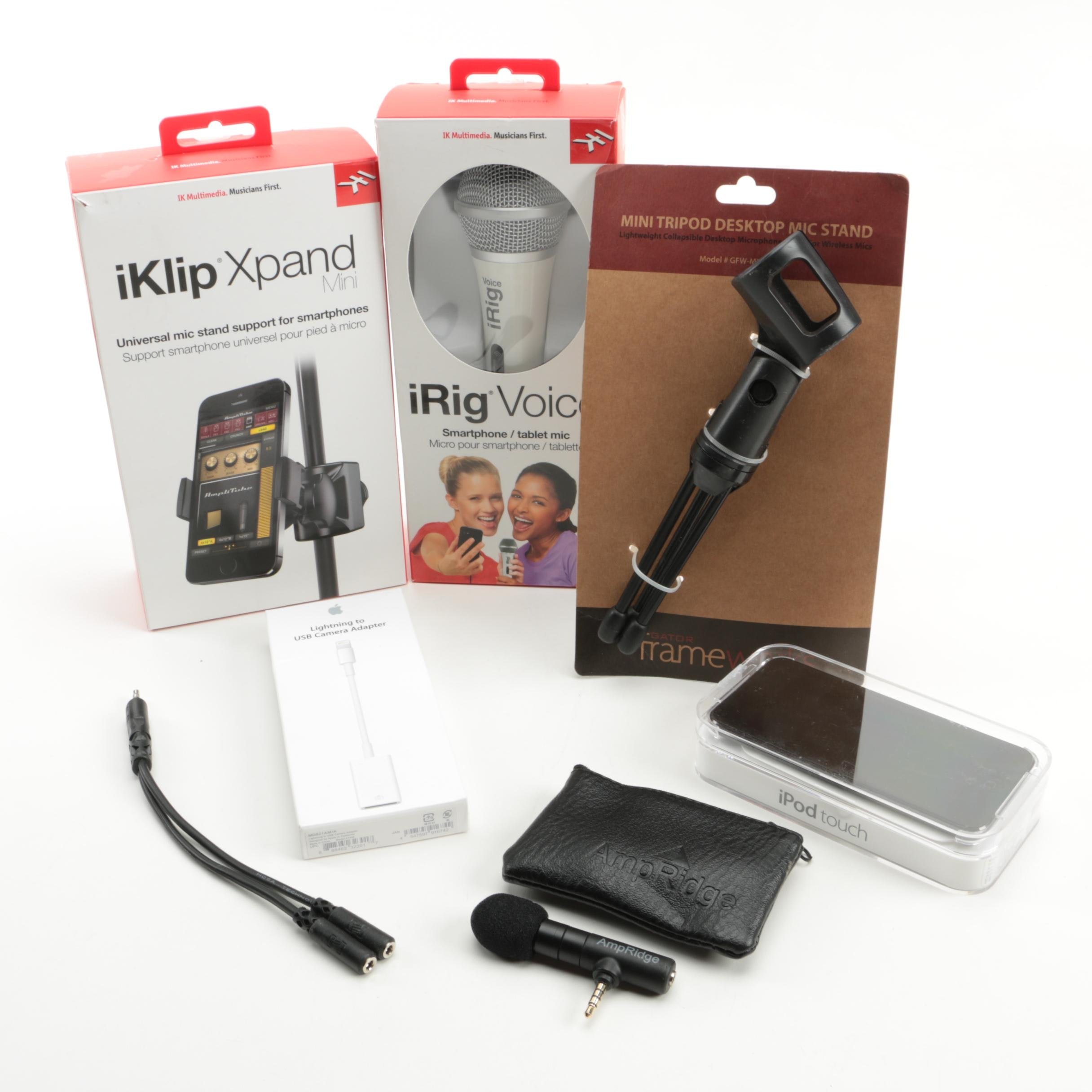 iPod Touch with iRig Mic, iKlip Xpand, Stand, and More