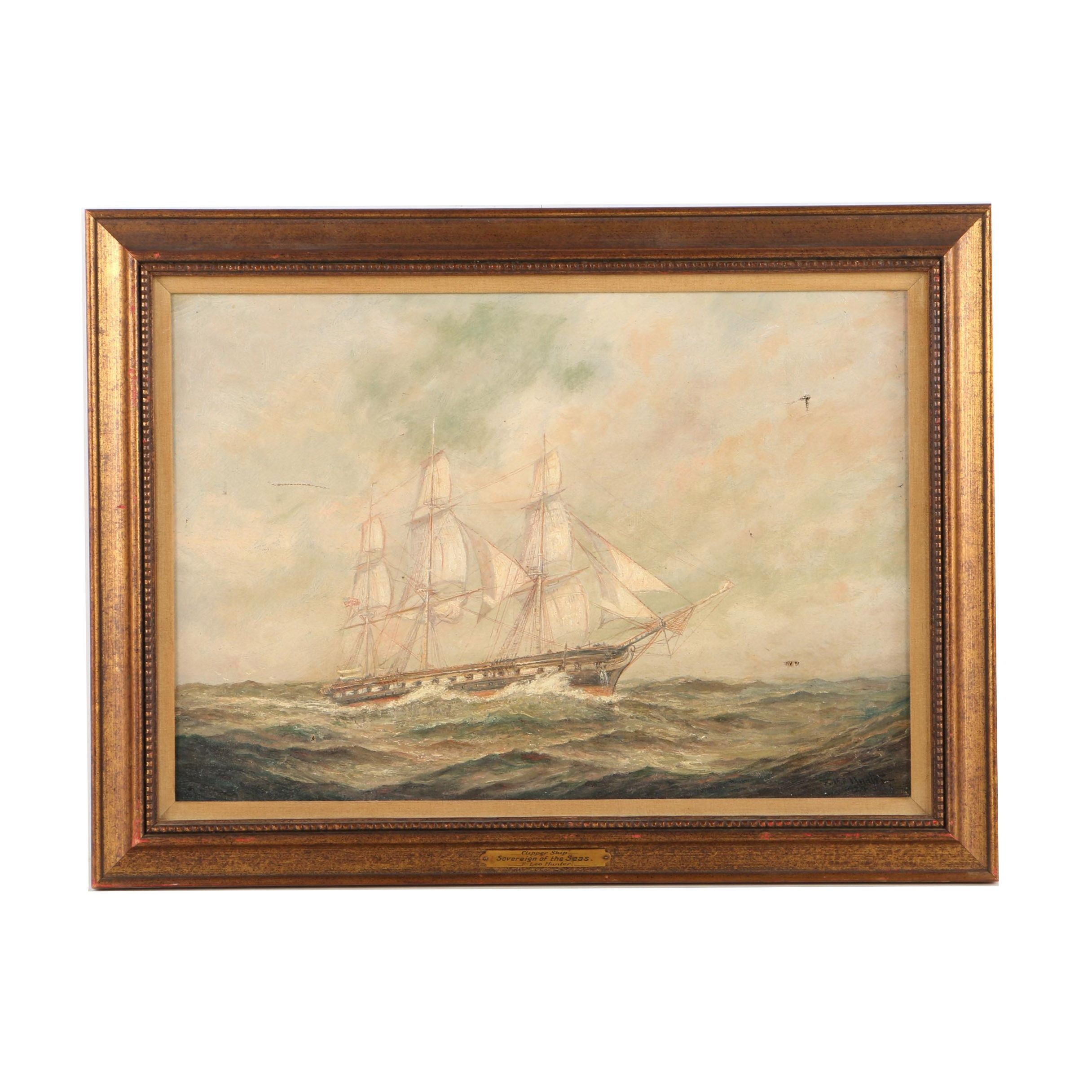 """Frederick Hunter Oil Painting on Canvas """"Sovereign of the Seas"""""""