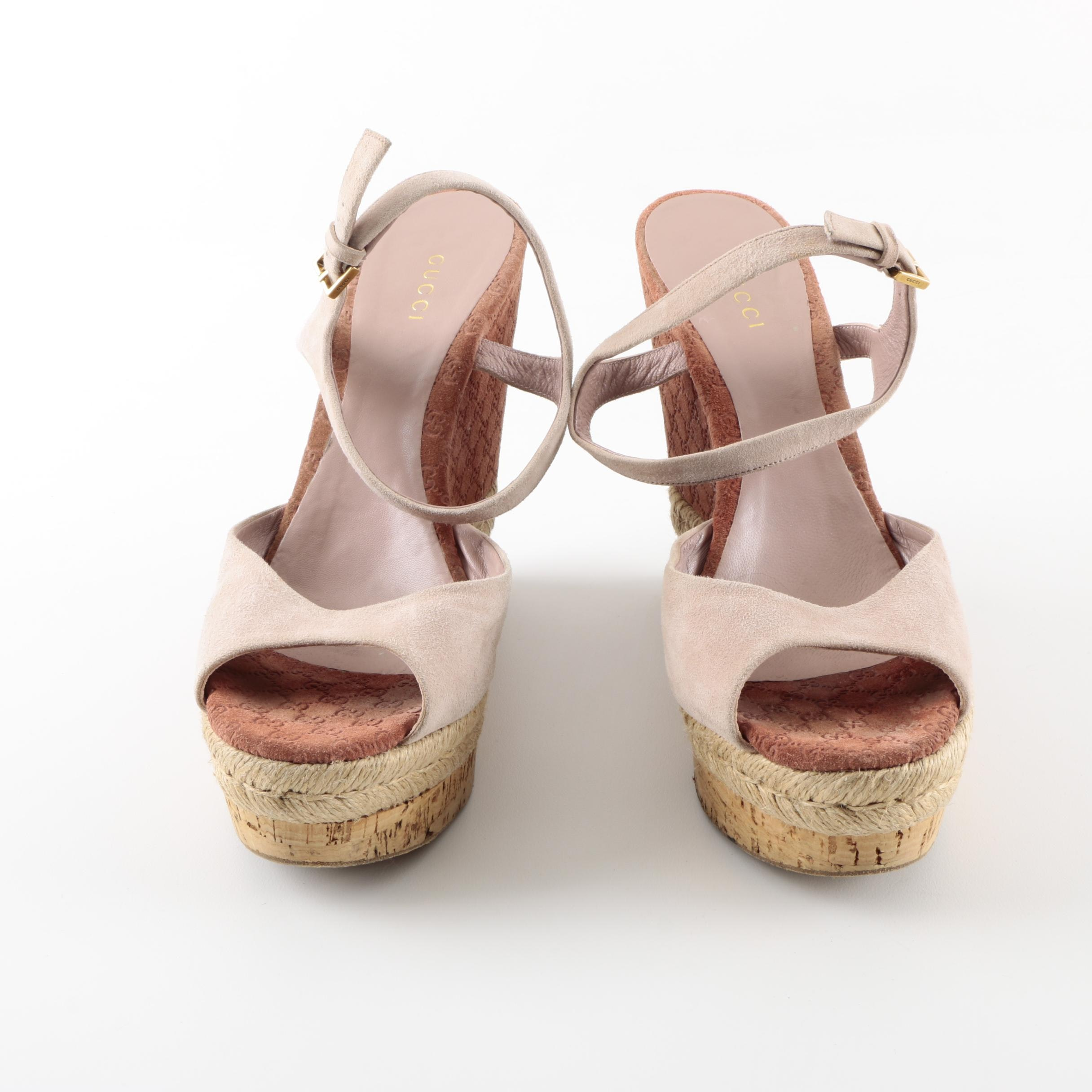 Women's Gucci Suede Leather and Jute Wedges