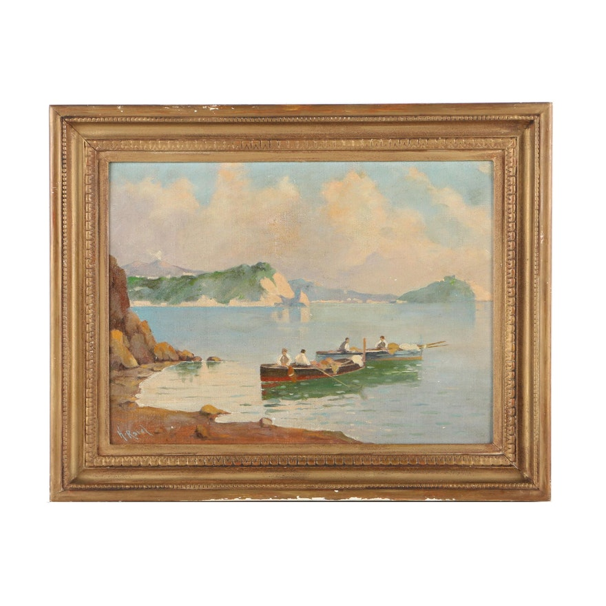 Henry Ravel Oil Painting on Canvas Board Coastal Scene