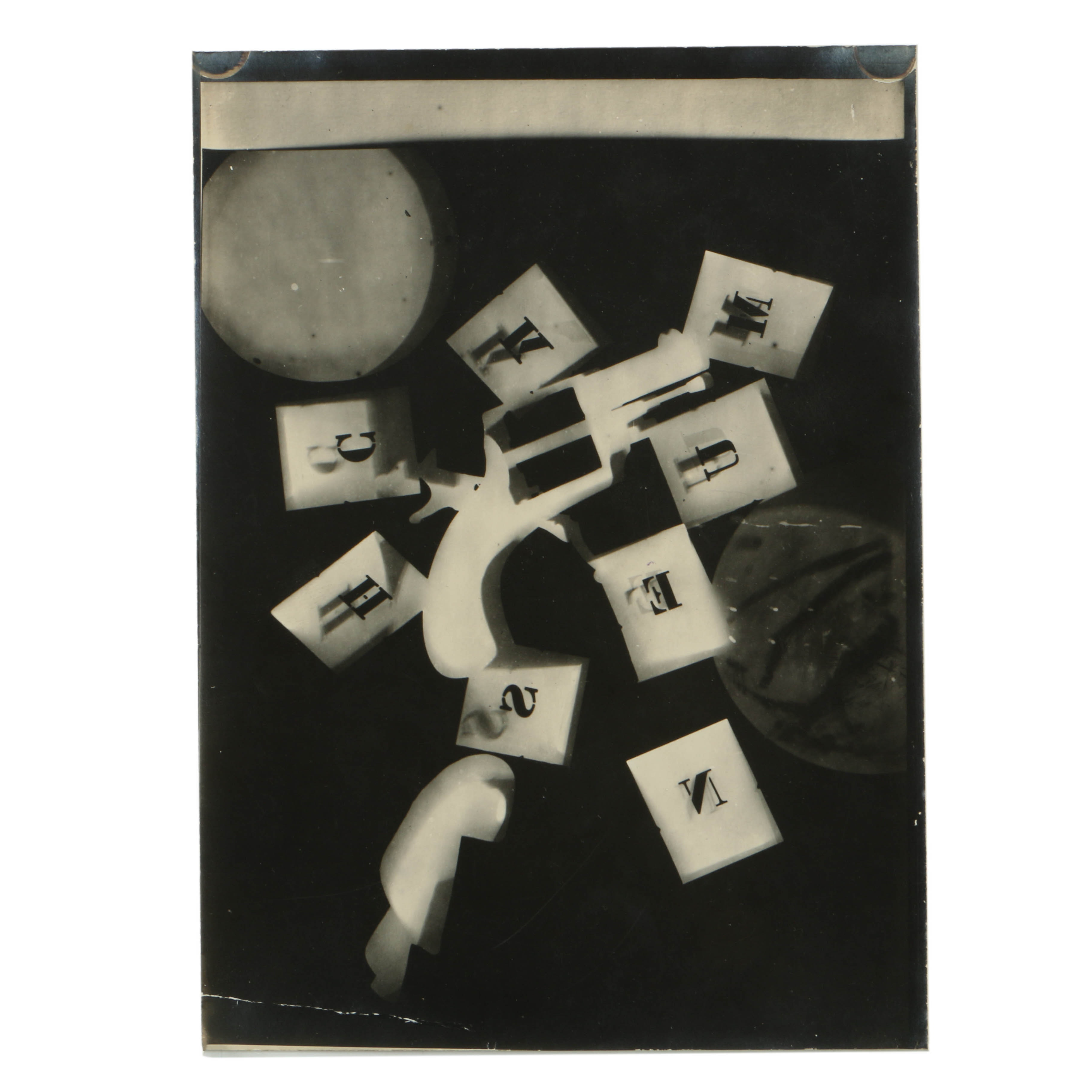 Man Ray 1928 Silver-Gelatin Rayograph with Alphabet Stencils and Revolver