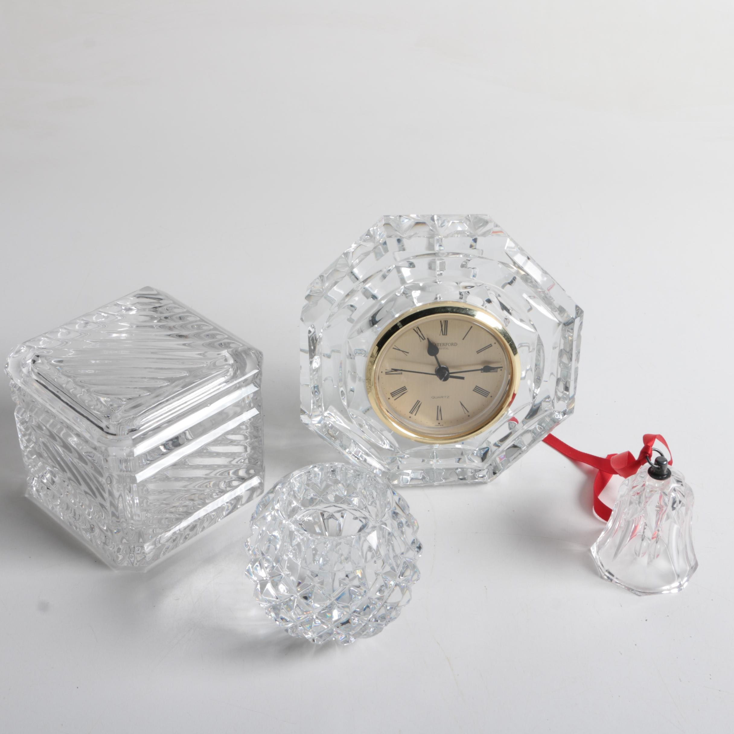 Waterford Clock, Votive and Other Decorative Crystal