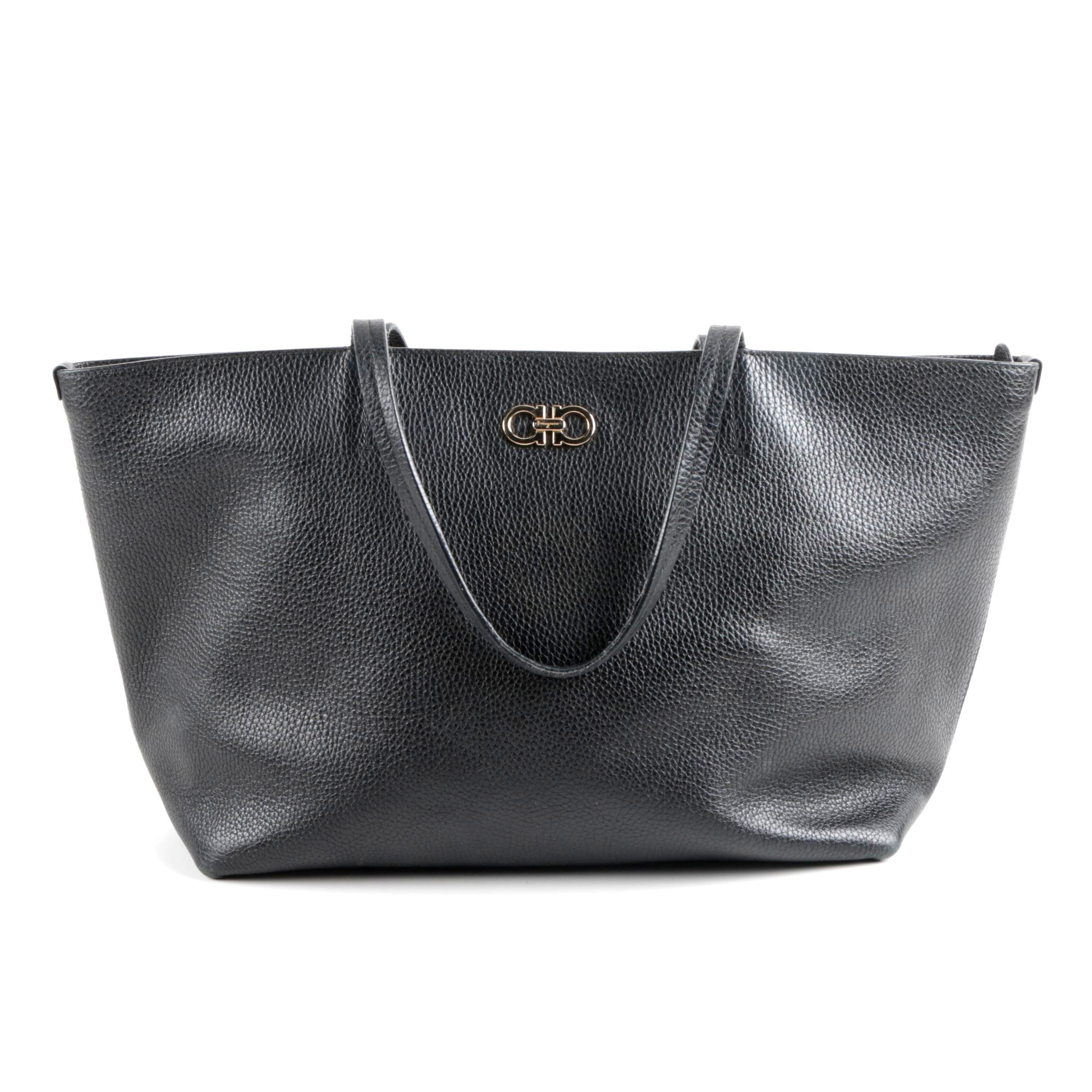 Salvatore Ferragamo Bice East-West Tote Bag in Black Pebbled Leather