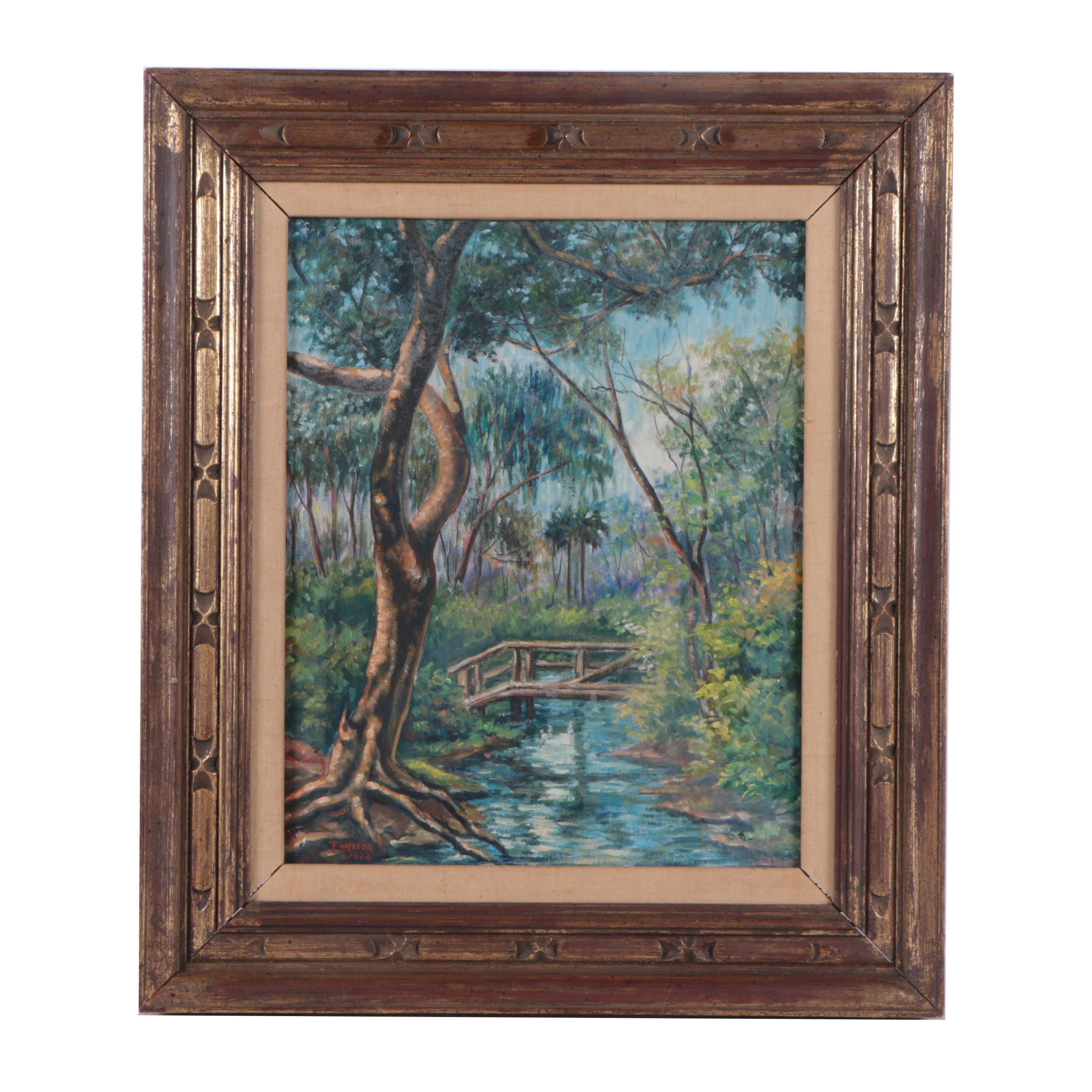 1964 Fonseca Oil Painting of Forest Landscape