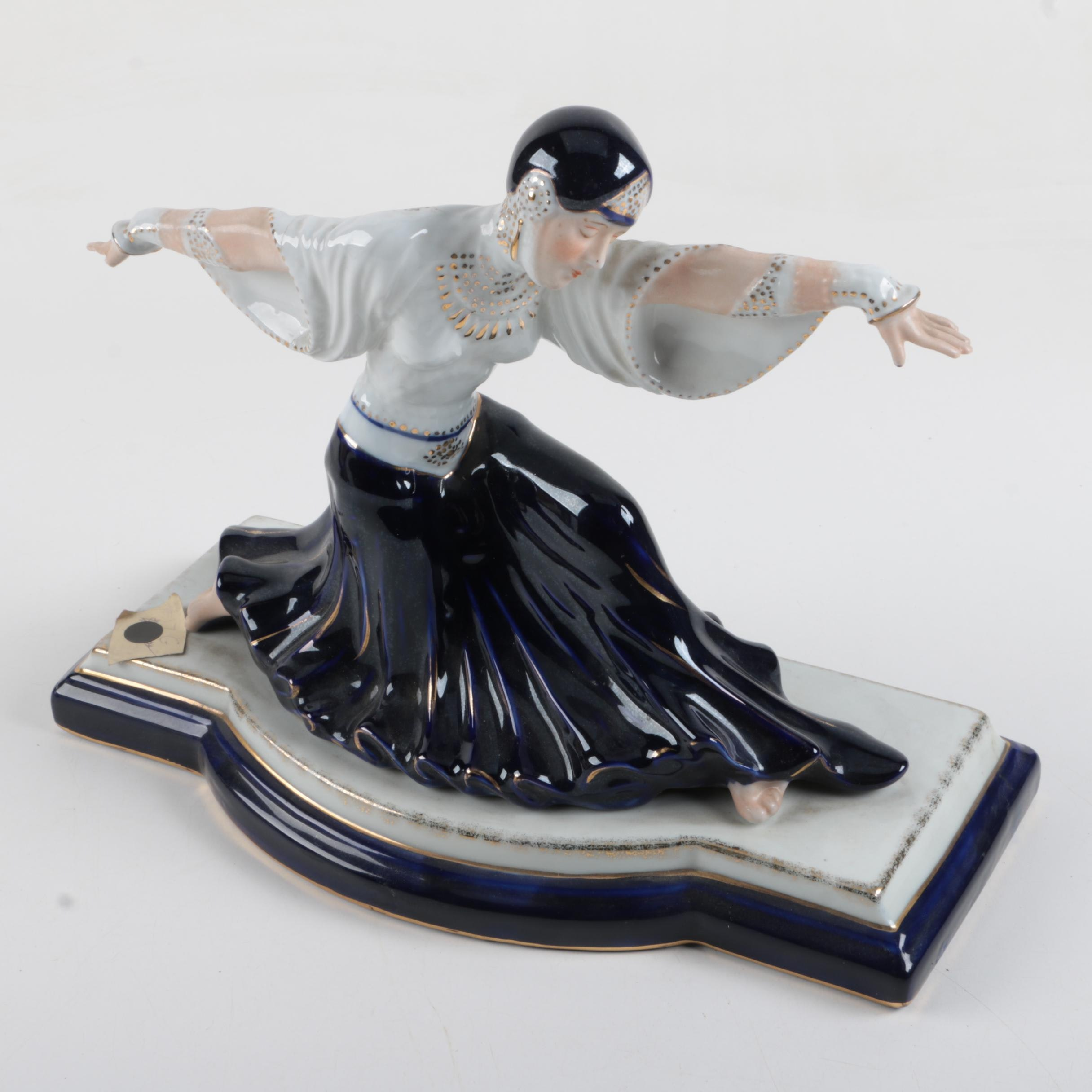 Art Deco Style Porcelain Figurine of a Woman