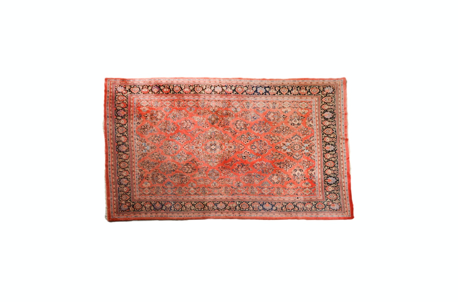 Vintage Hand-Knotted Persian Sarouk Wool Room Size Rug