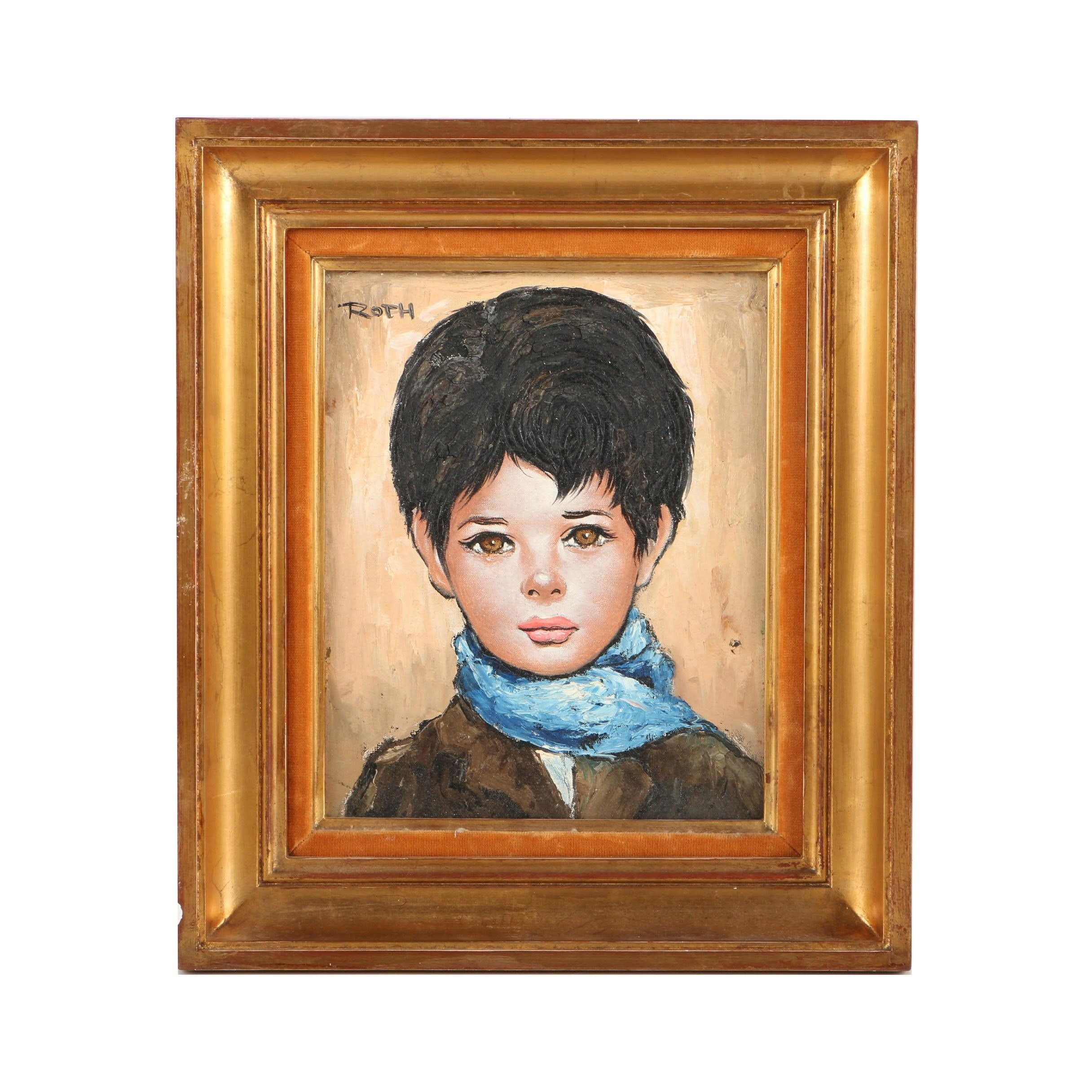 Etienne Roth Oil Painting on Canvas of Portrait