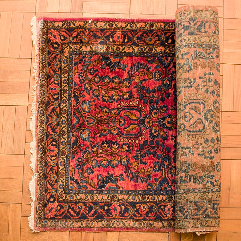 Vintage Hand-Knotted Sarouk Accent Rug