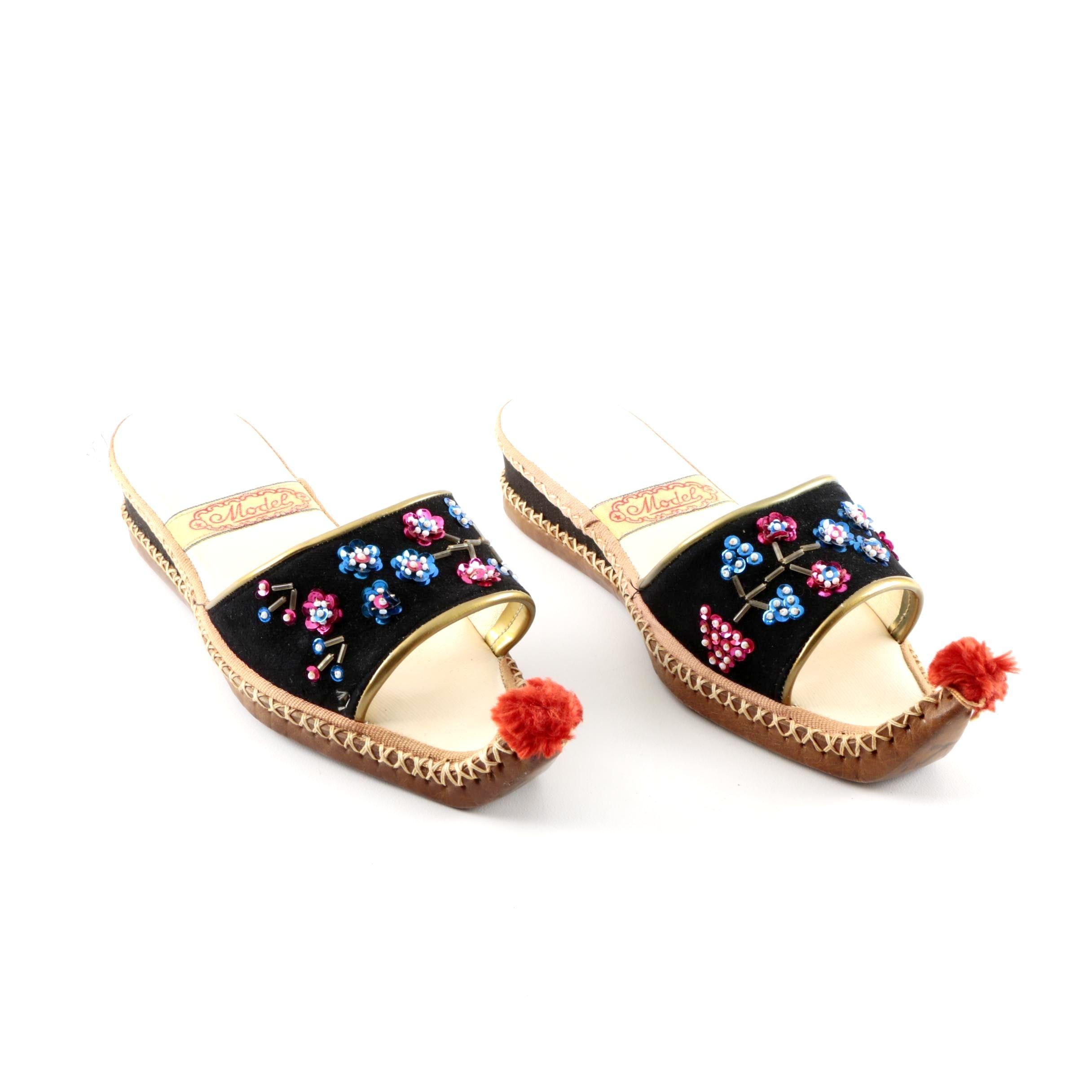 Model Exotic Embellished Leather Slides