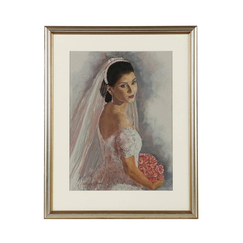 Joyce Goodman 1994 Pastel Drawing on Paper of Bride with Pink Bouquet