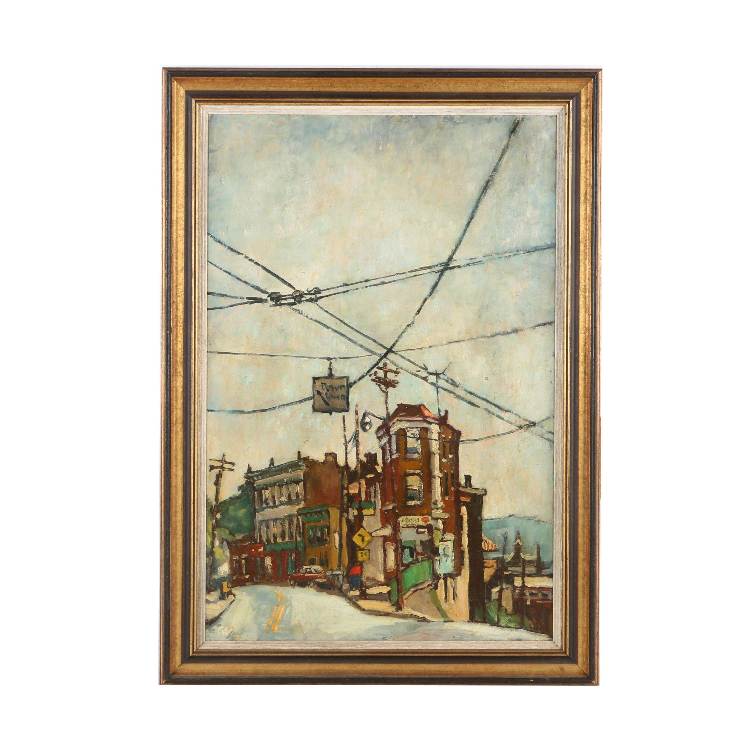 Carl Alex von Volborth Oil Painting of a Cincinnati Street Corner