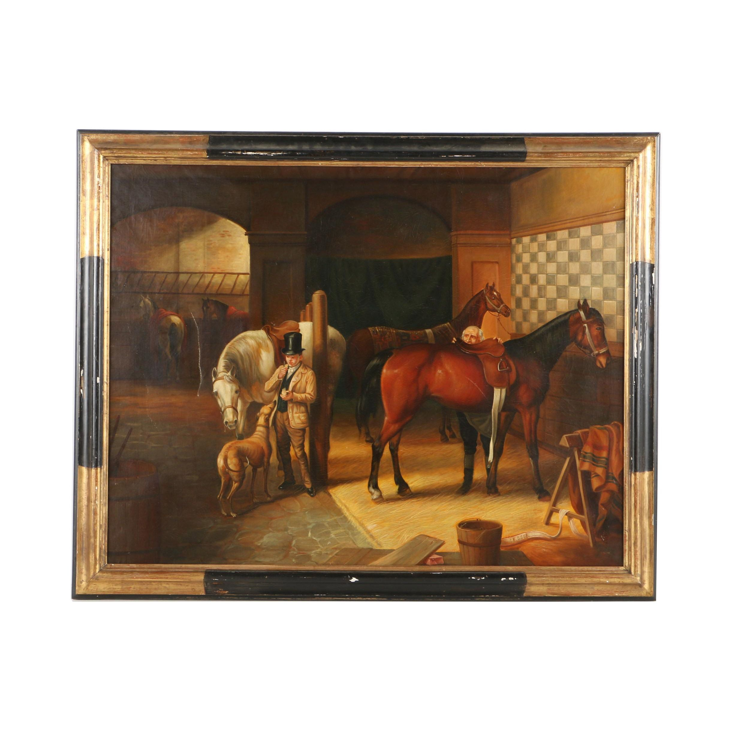 Oil Painting on Canvas of Stable Scene