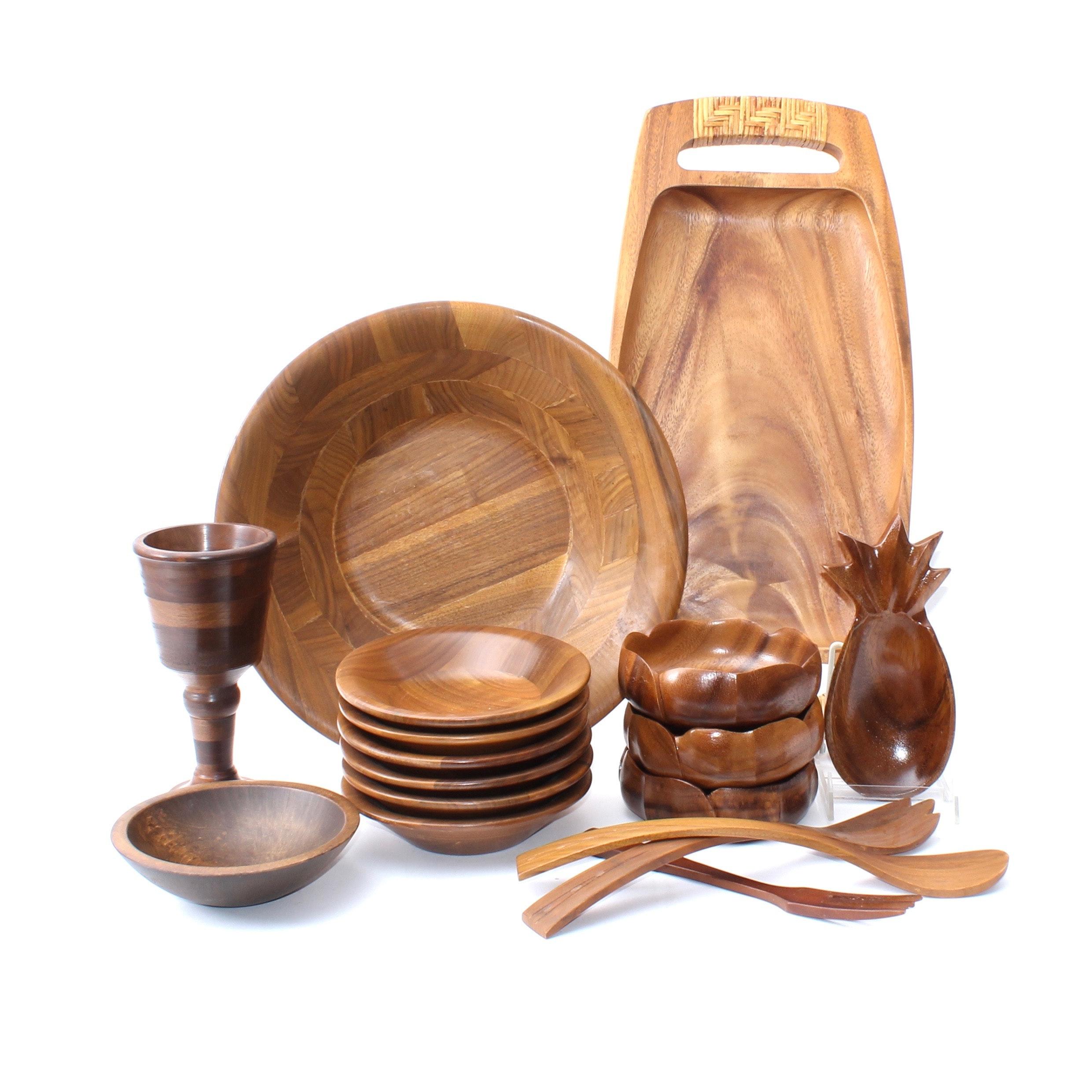 Fine Woodware Selection Inlcuding Acacia Monkey Pod and Walnut Salad Set