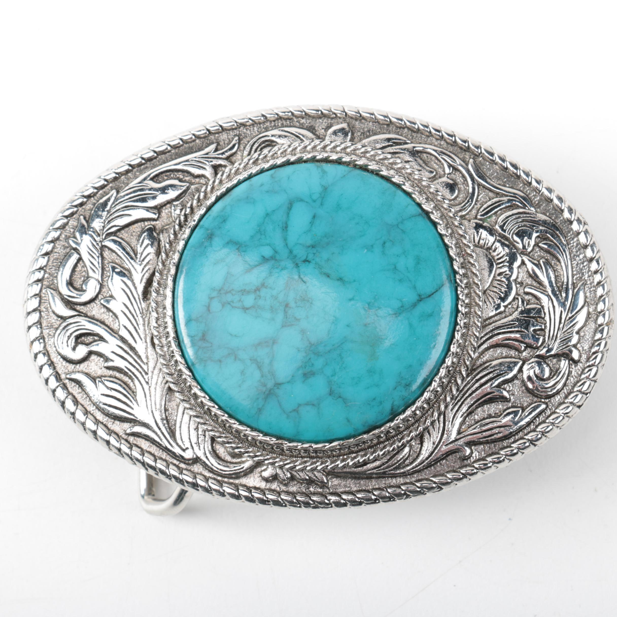 Western-Style Belt Buckle with Blue Cabochon