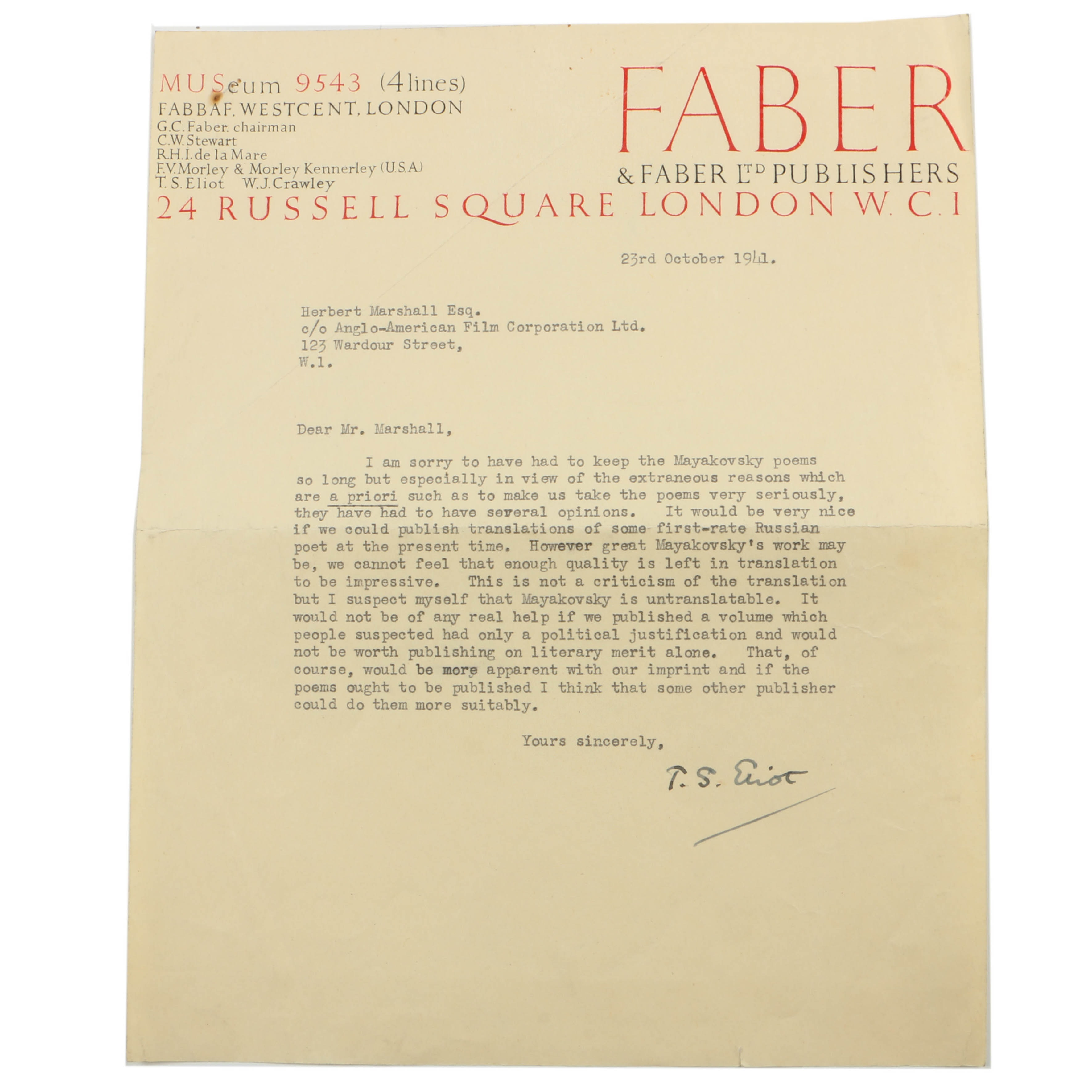 1941 Letter Signed by T.S. Eliot to Herbert Marshall