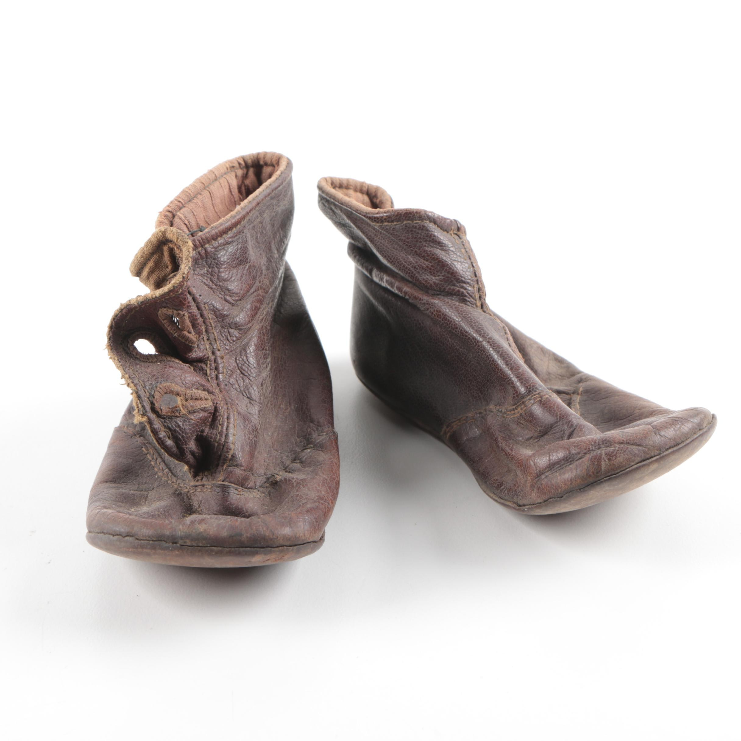 Antique Brown Leather Baby Boots