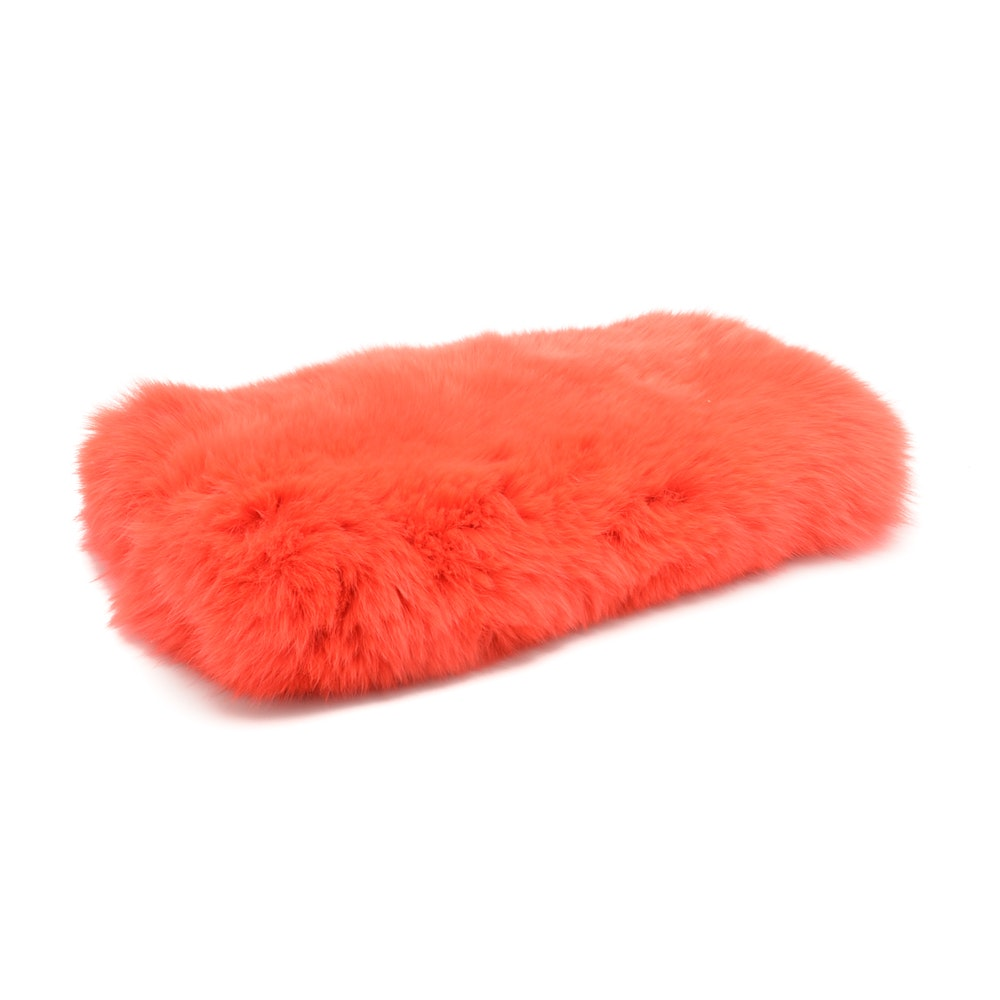 Red Dyed Rabbit Fur Muff